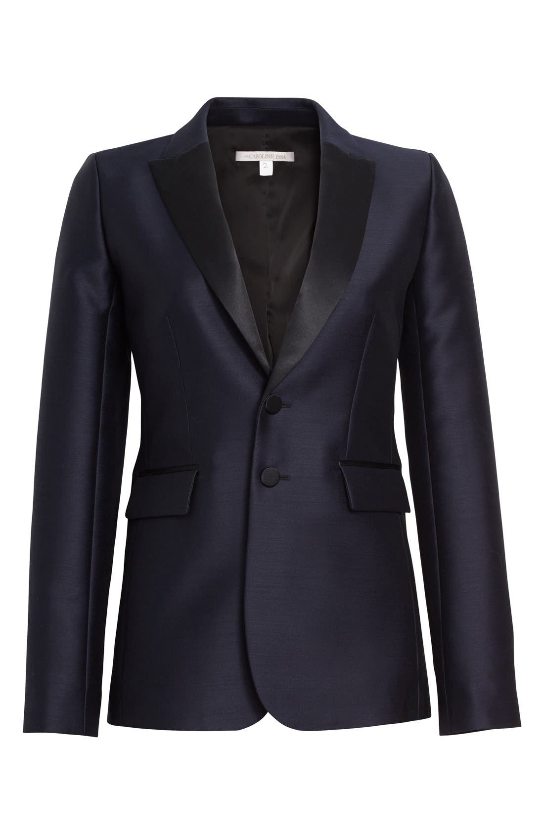Alternate Image 4  - Nordstrom Signature and Caroline Issa Silk Trim Tuxedo Jacket