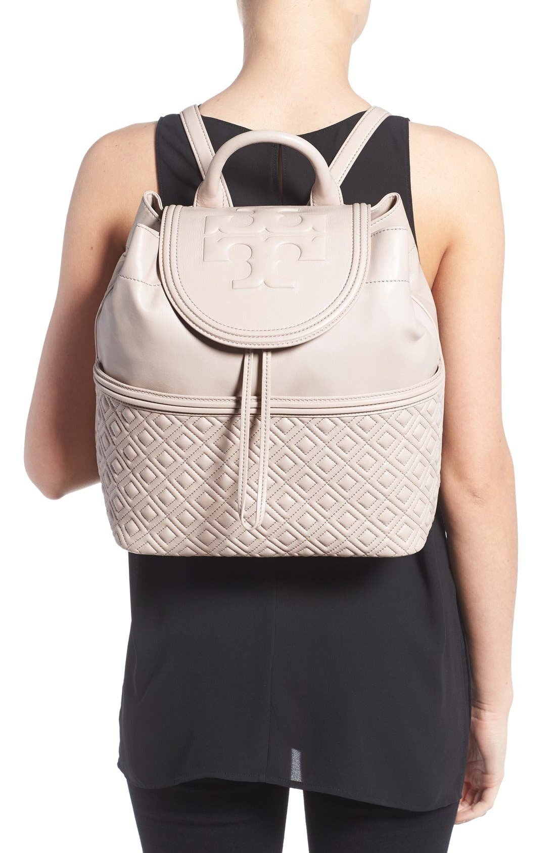 Alternate Image 2  - Tory Burch 'Fleming' Quilted Lambskin Leather Backpack