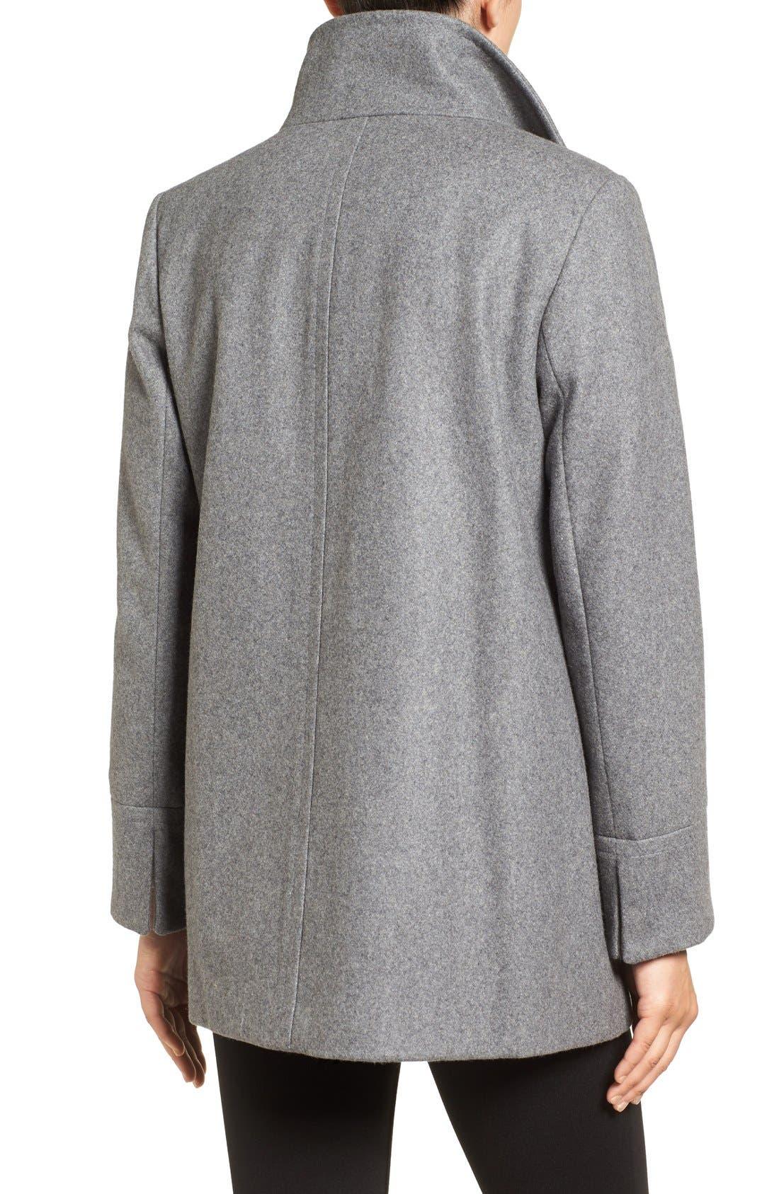 Alternate Image 2  - Larry Levine Wool Blend Swing Coat