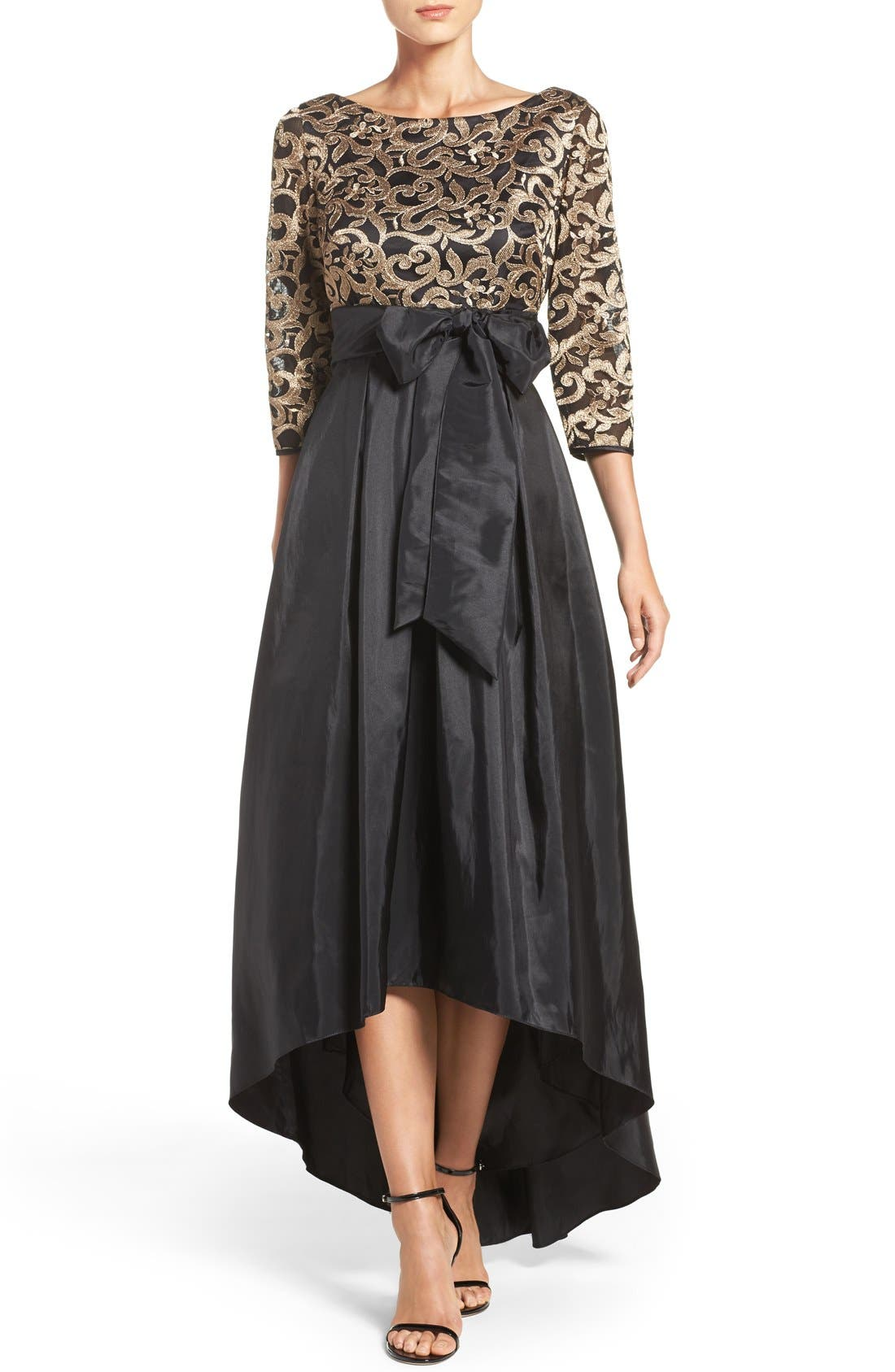 Main Image - Eliza J Embroidered Mesh & Taffeta Gown (Regular & Petite)