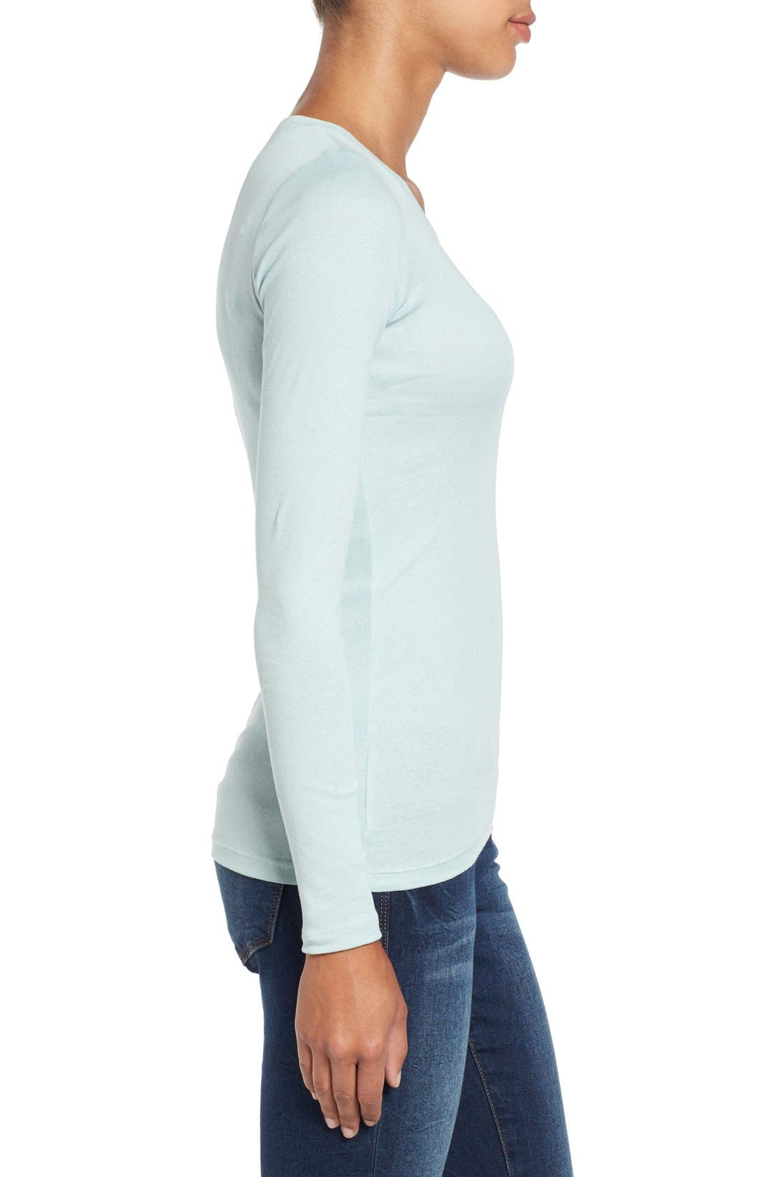Alternate Image 3  - Caslon® Long Sleeve Scoop Neck Cotton Tee (Regular & Petite)