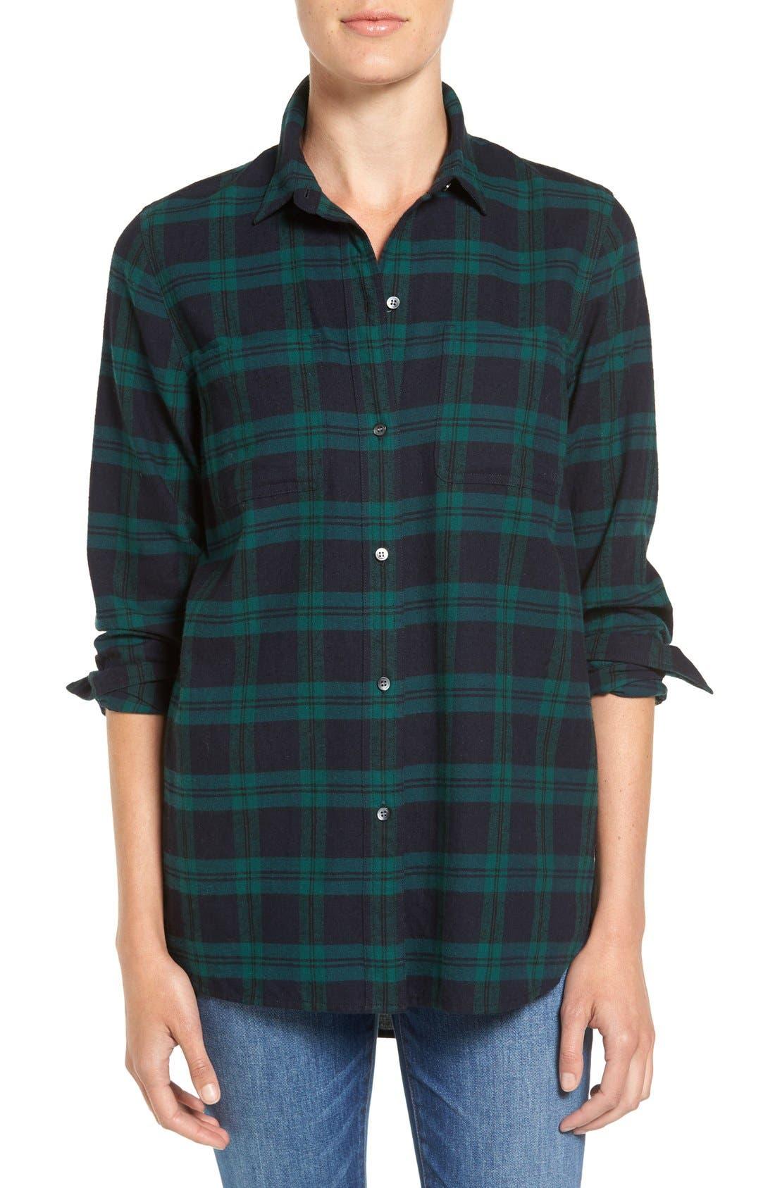 Main Image - Madewell Ex Boyfriend - Dark Plaid Classic Shirt