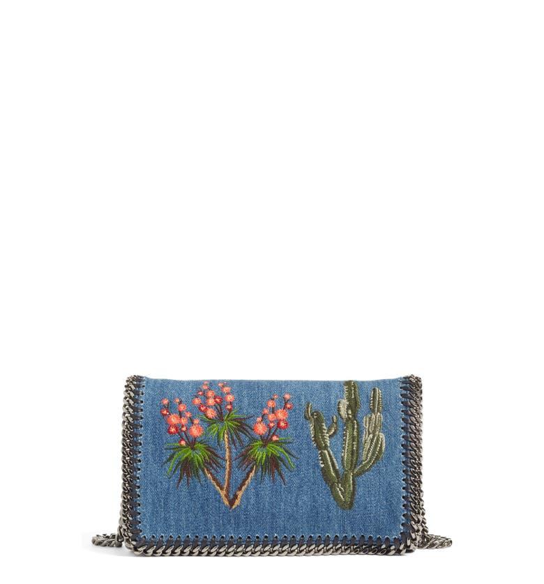 Stella mccartney embroidered denim shoulder bag nordstrom