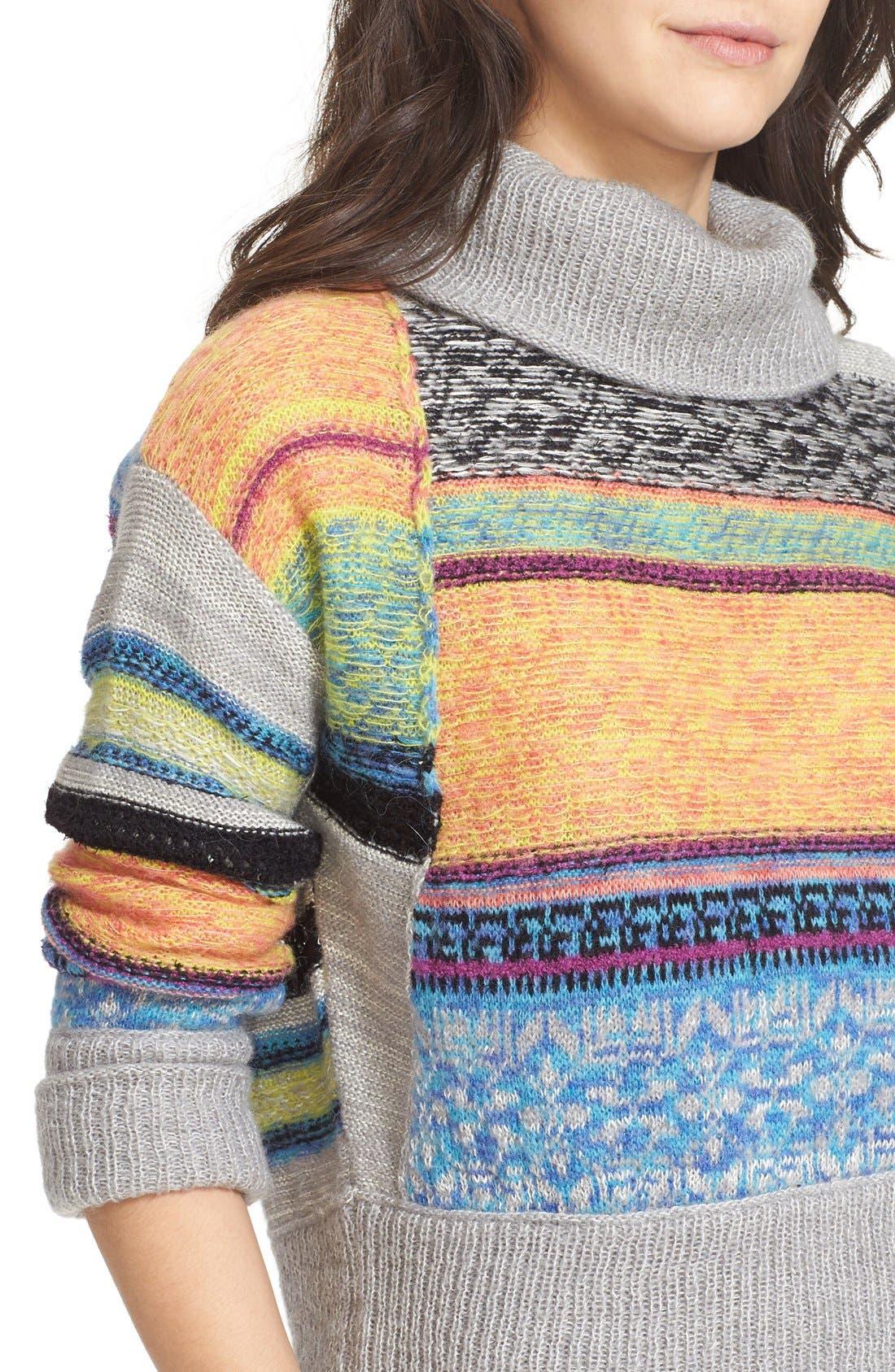Alternate Image 4  - Free People This & That Mix Stitch Stripe Sweater