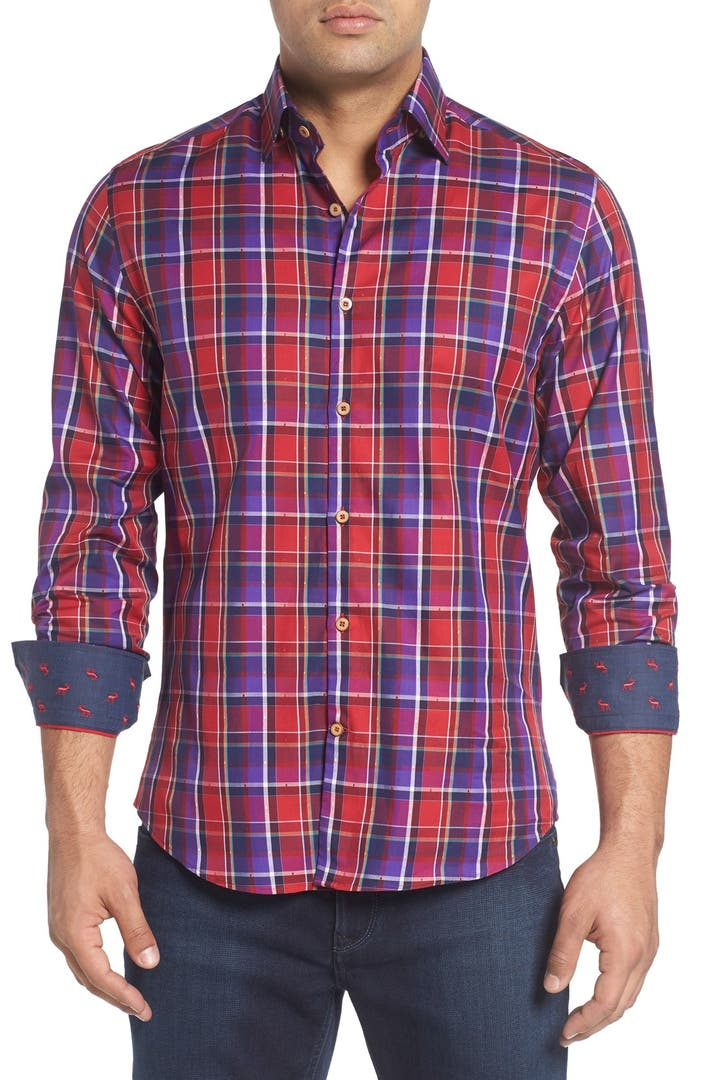 Stone Rose Slim Fit Dobby Plaid Sport Shirt Big Tall