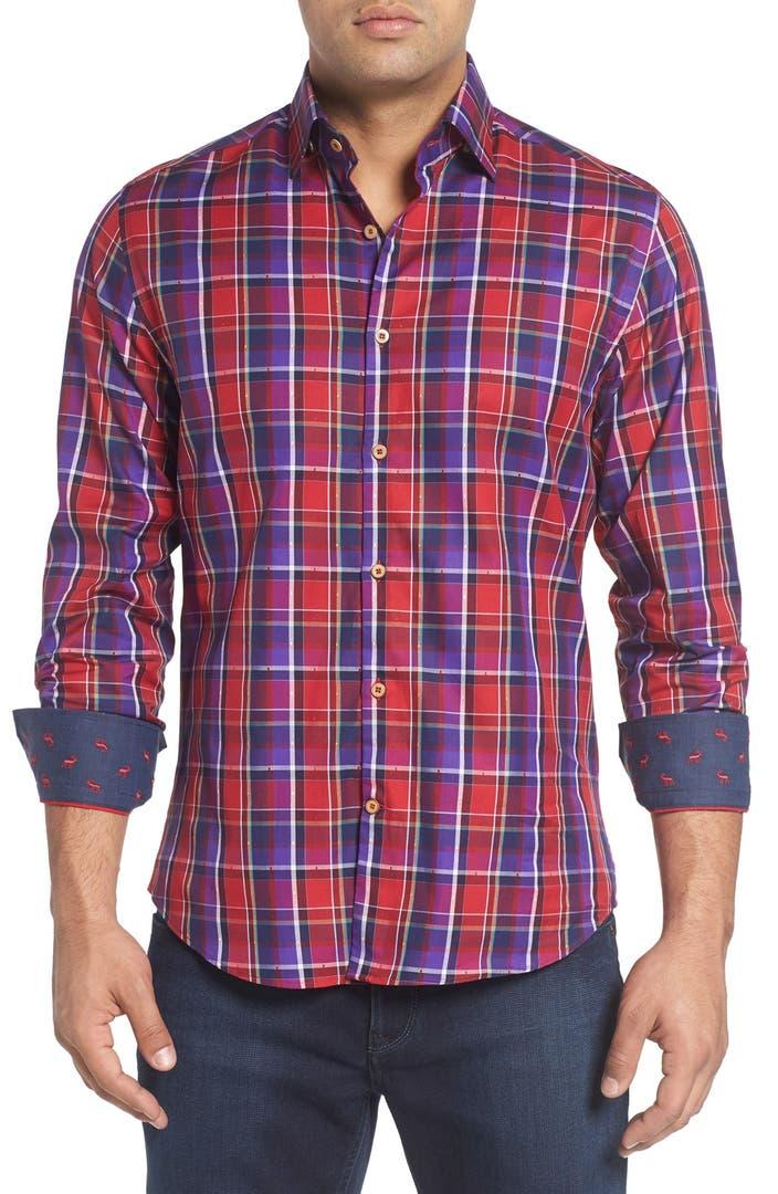 Stone rose slim fit dobby plaid sport shirt big tall for Slim fit tall shirts