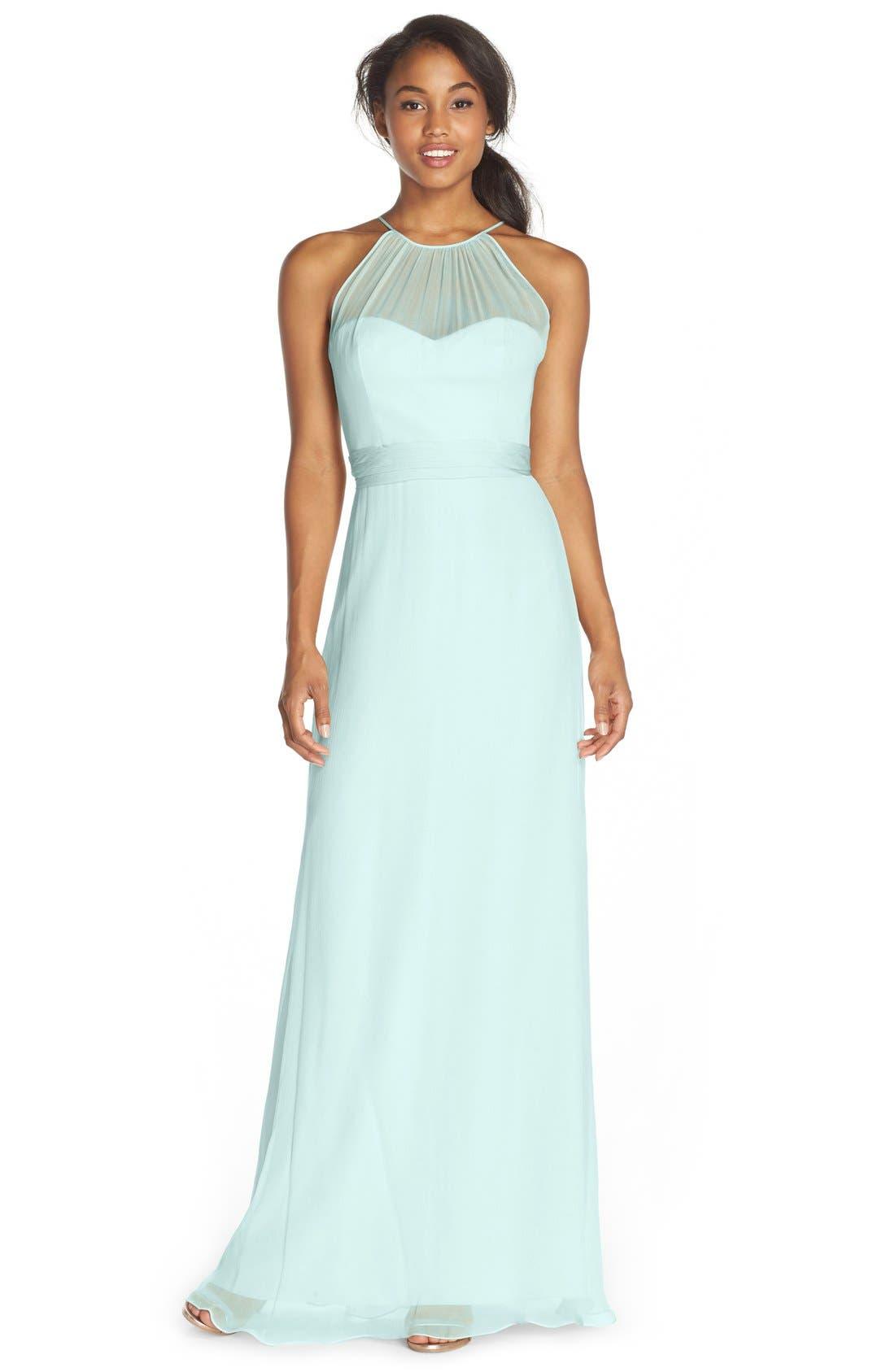 Alternate Image 1 Selected - Amsale Illusion Yoke Silk Chiffon Halter Style Gown