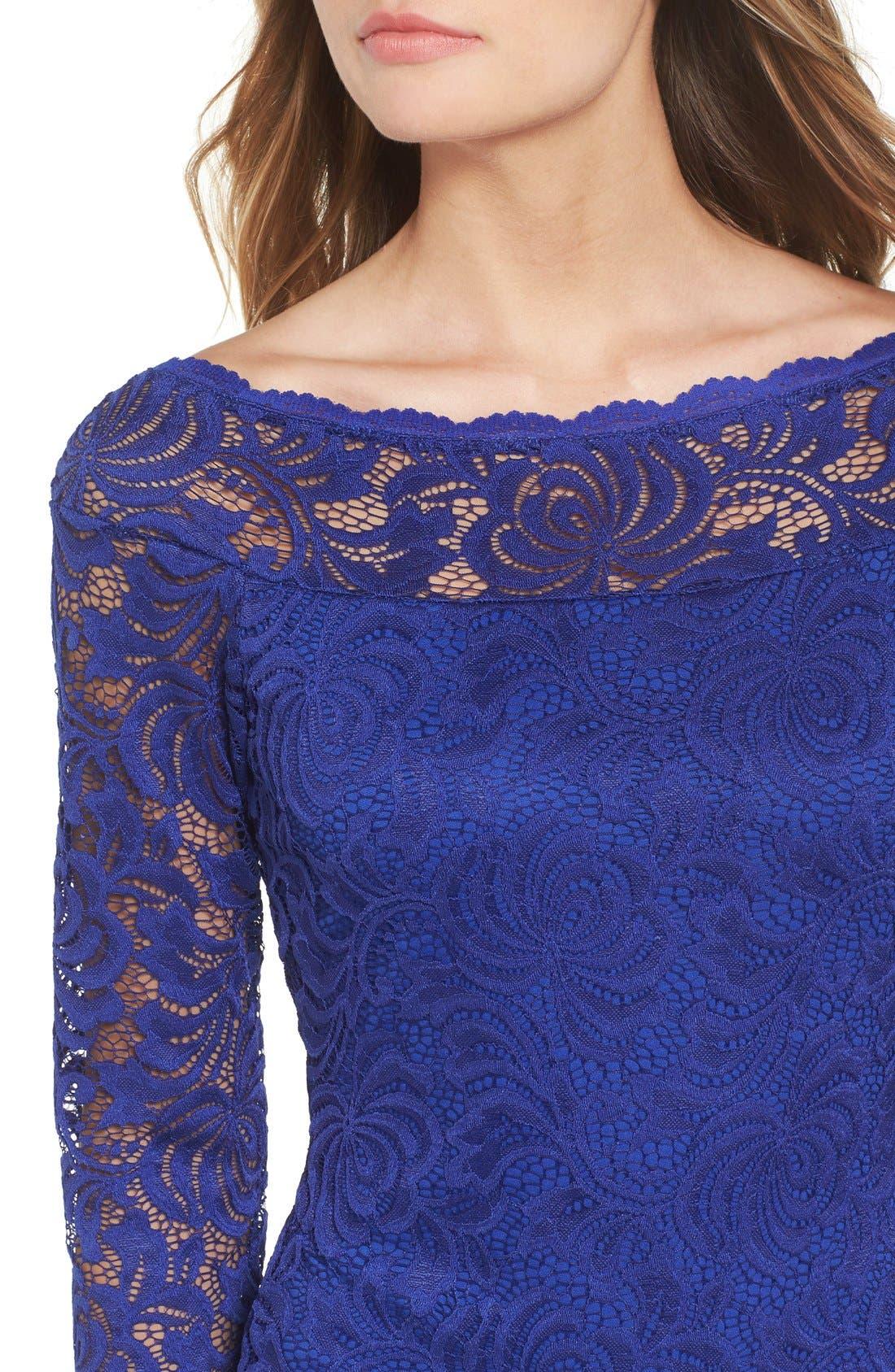 Alternate Image 4  - Secret Charm Bateau Neck Lace Body-Con Dress