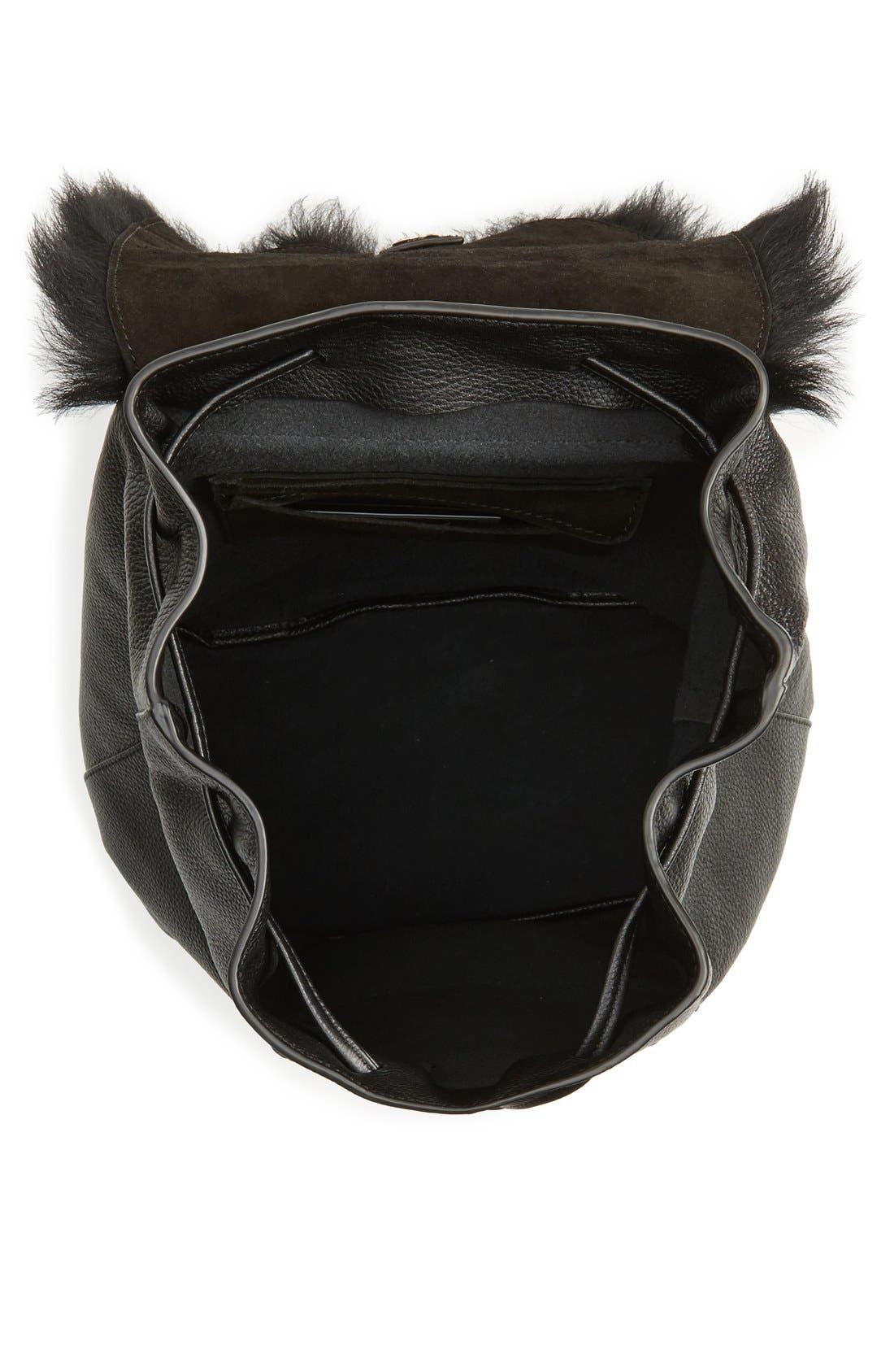 Alternate Image 4  - Elizabeth and James 'Langley' Leather & Genuine Sheep Fur Backpack