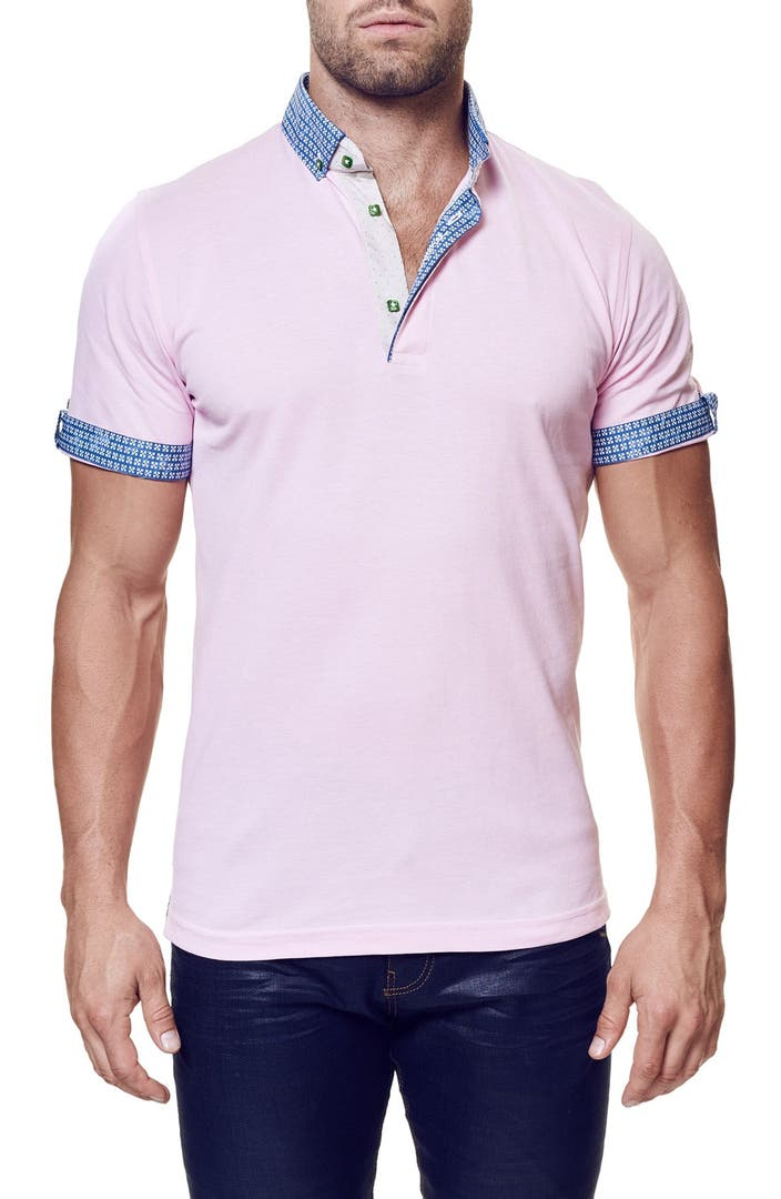 Maceoo contemporary fit short sleeve polo nordstrom for Stiff collar polo shirt