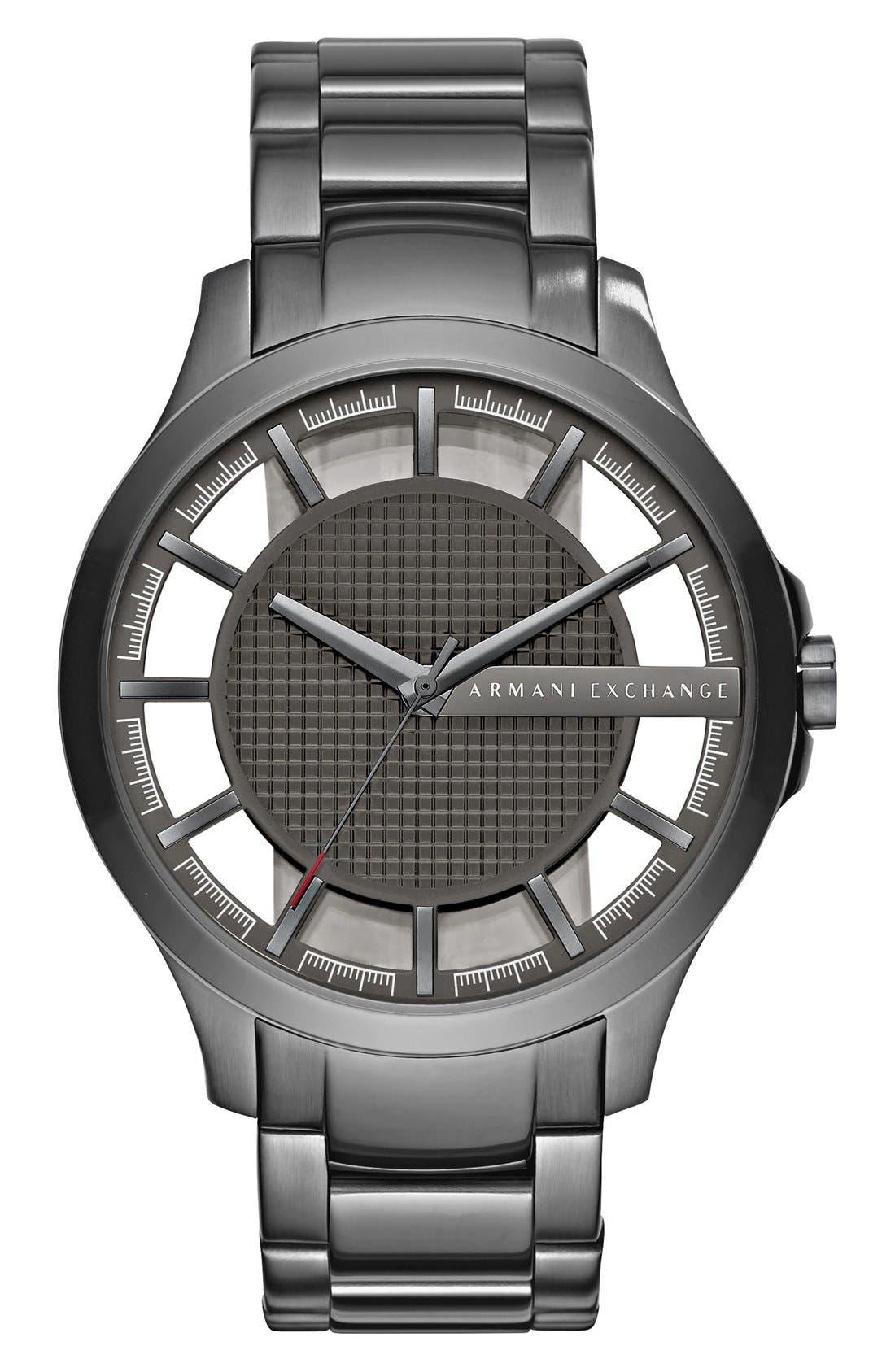 AX Armani Exchange Skeleton Dial Bracelet Watch, 46mm