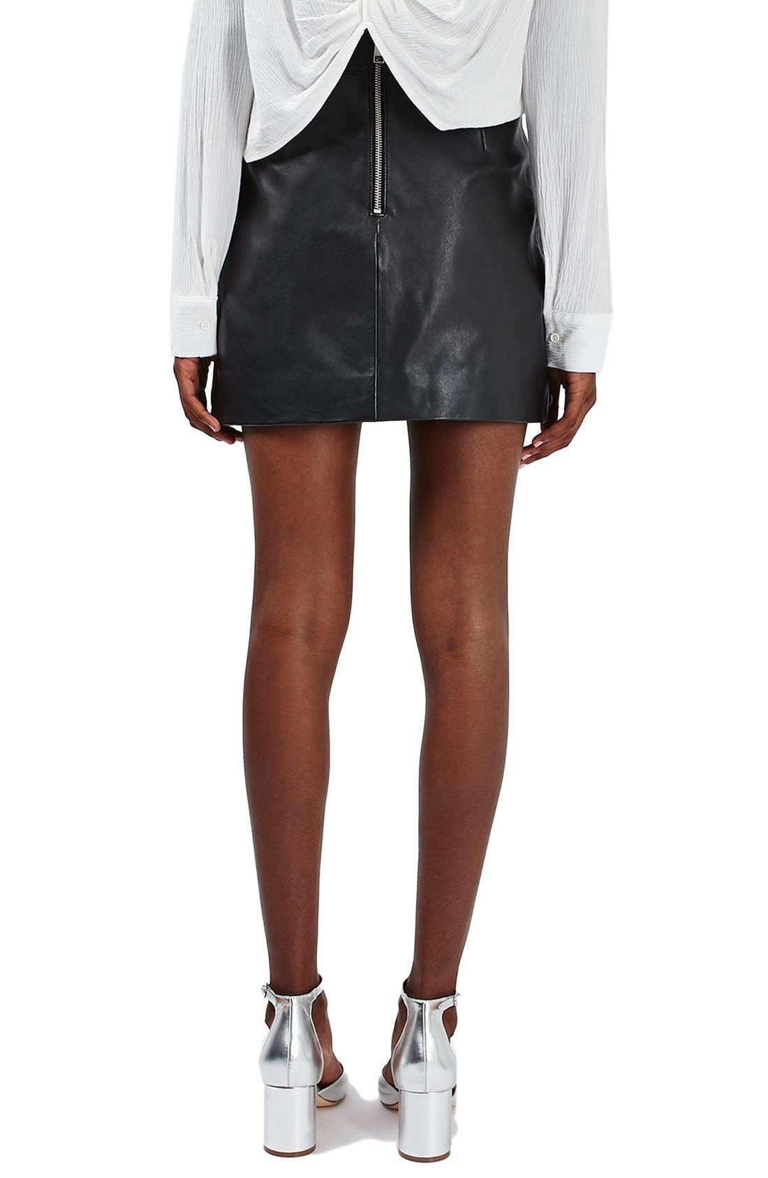 Alternate Image 3  - Topshop Stud & Grommet Leather Miniskirt