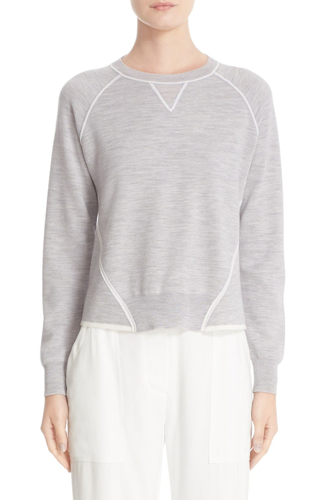 ADAM LIPPES Contrast Detail Merino Wool Sweatshirt
