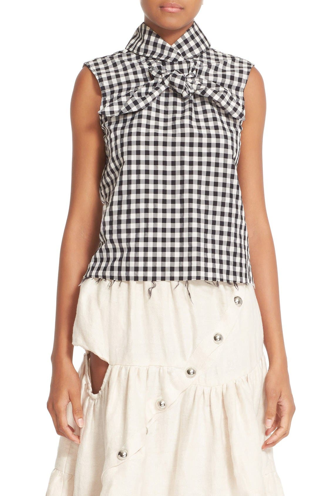 MARQUES'ALMEIDA Marques'Almeida High Neck Knotted Gingham Top