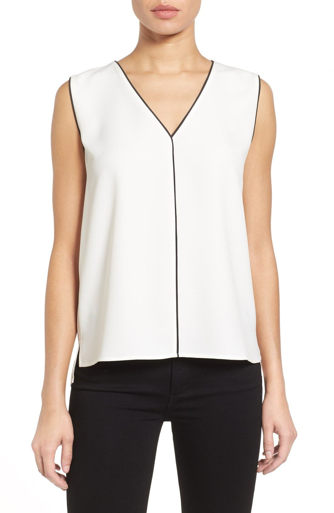 Alternate Image 1 Selected - Halogen® Piped V-Neck Sleeveless Top (Regular & Petite)