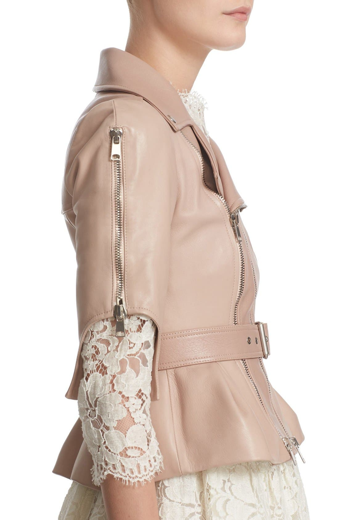 Alternate Image 5  - Alexander McQueen Crop Lambskin Leather Jacket