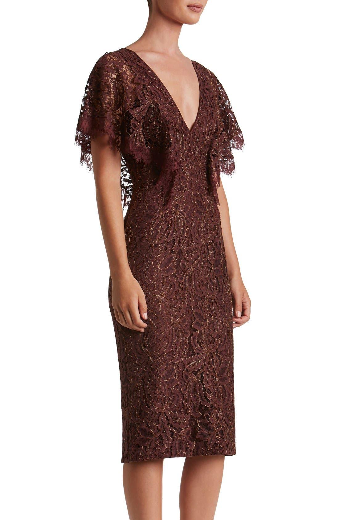 Alternate Image 4  - Dress the Population Lidia Lace Midi Dress