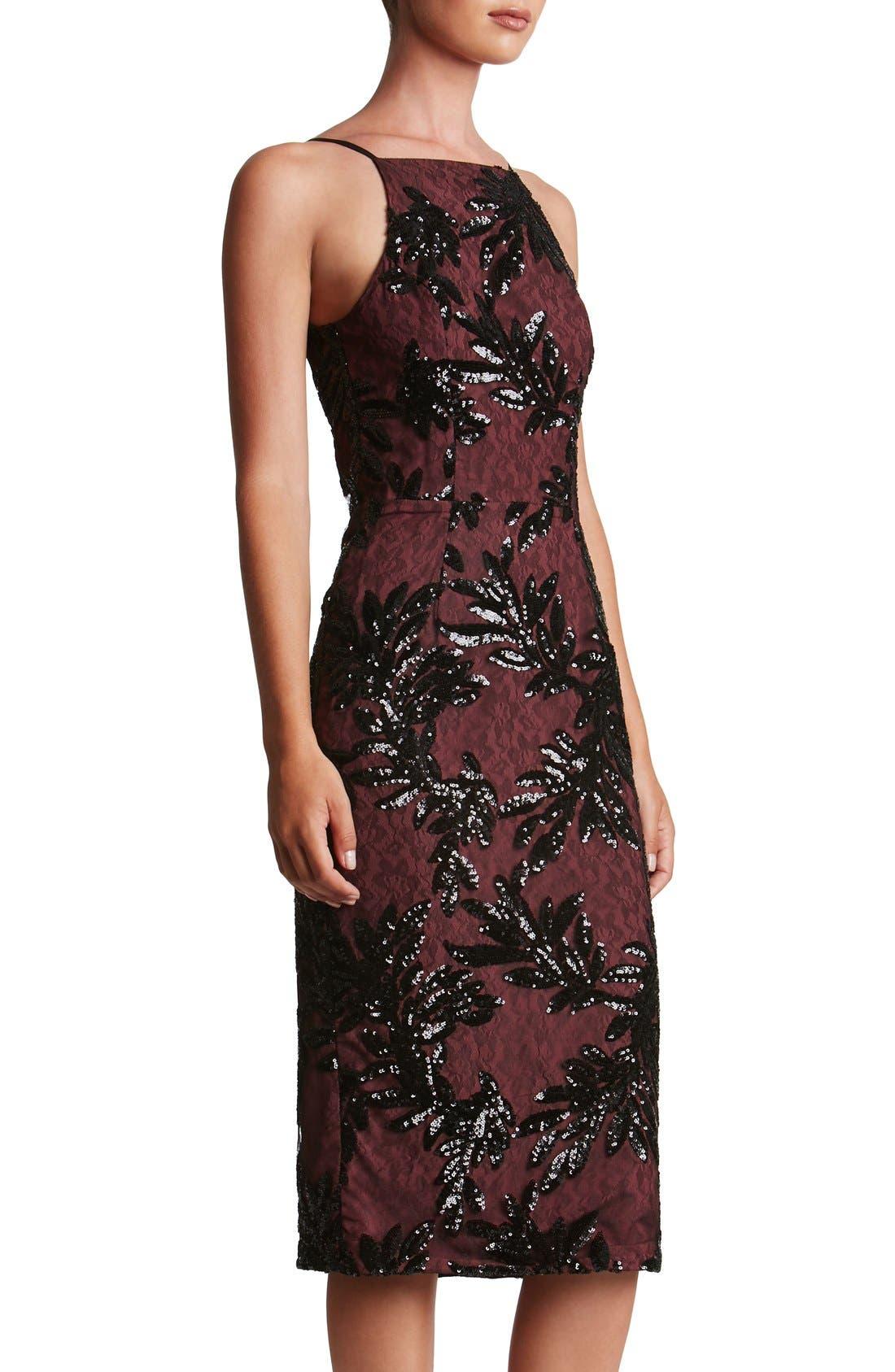 Alternate Image 3  - Dress the Population Ashley Sequin Lace Sheath Dress