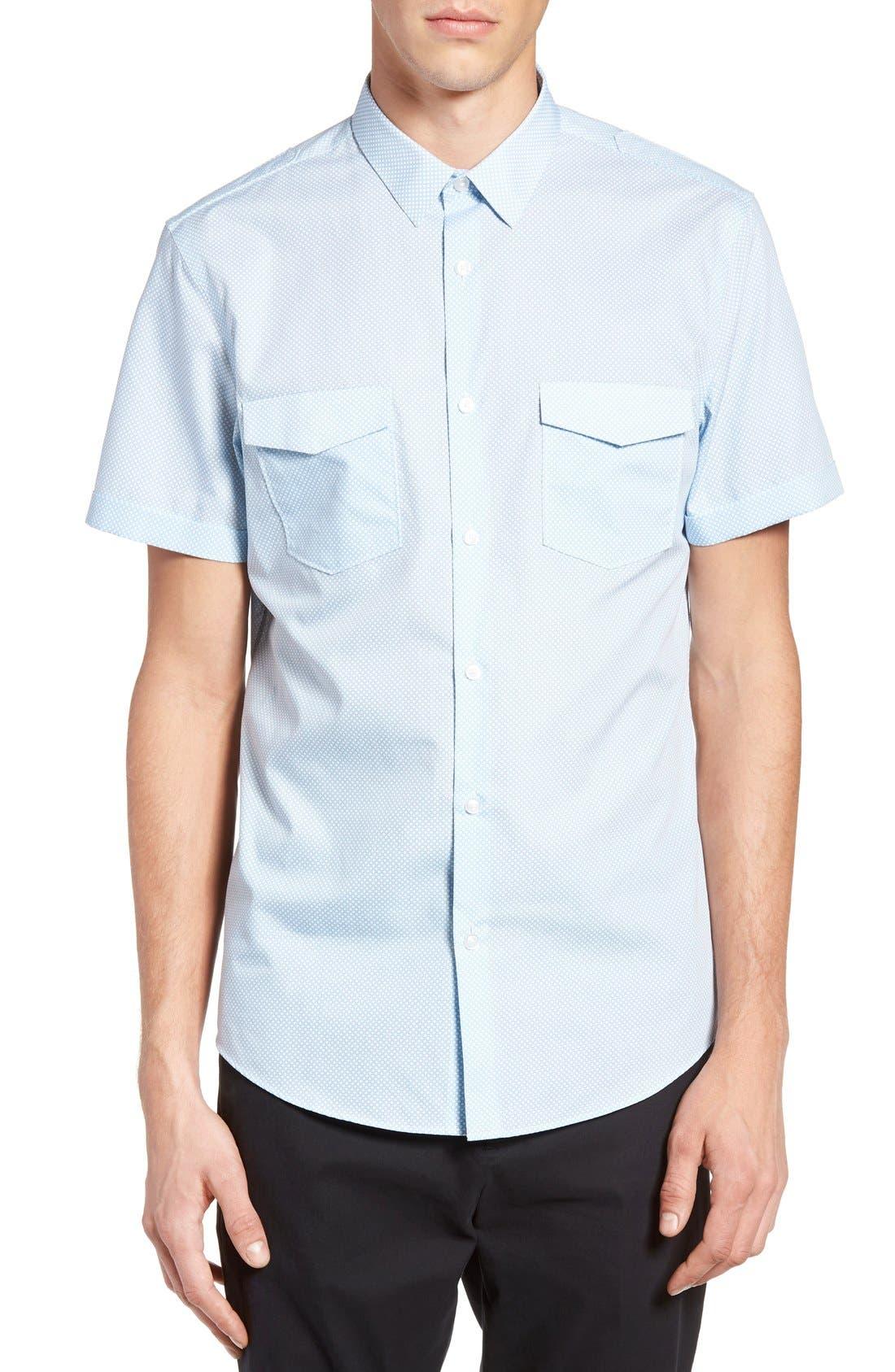 CALIBRATE Slim Fit Print Short Sleeve Sport Shirt