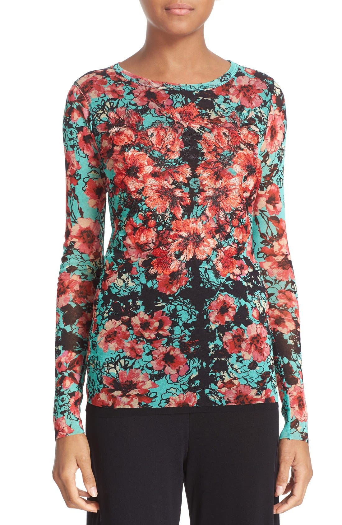 FUZZI Embroidered Floral Print Tulle Top