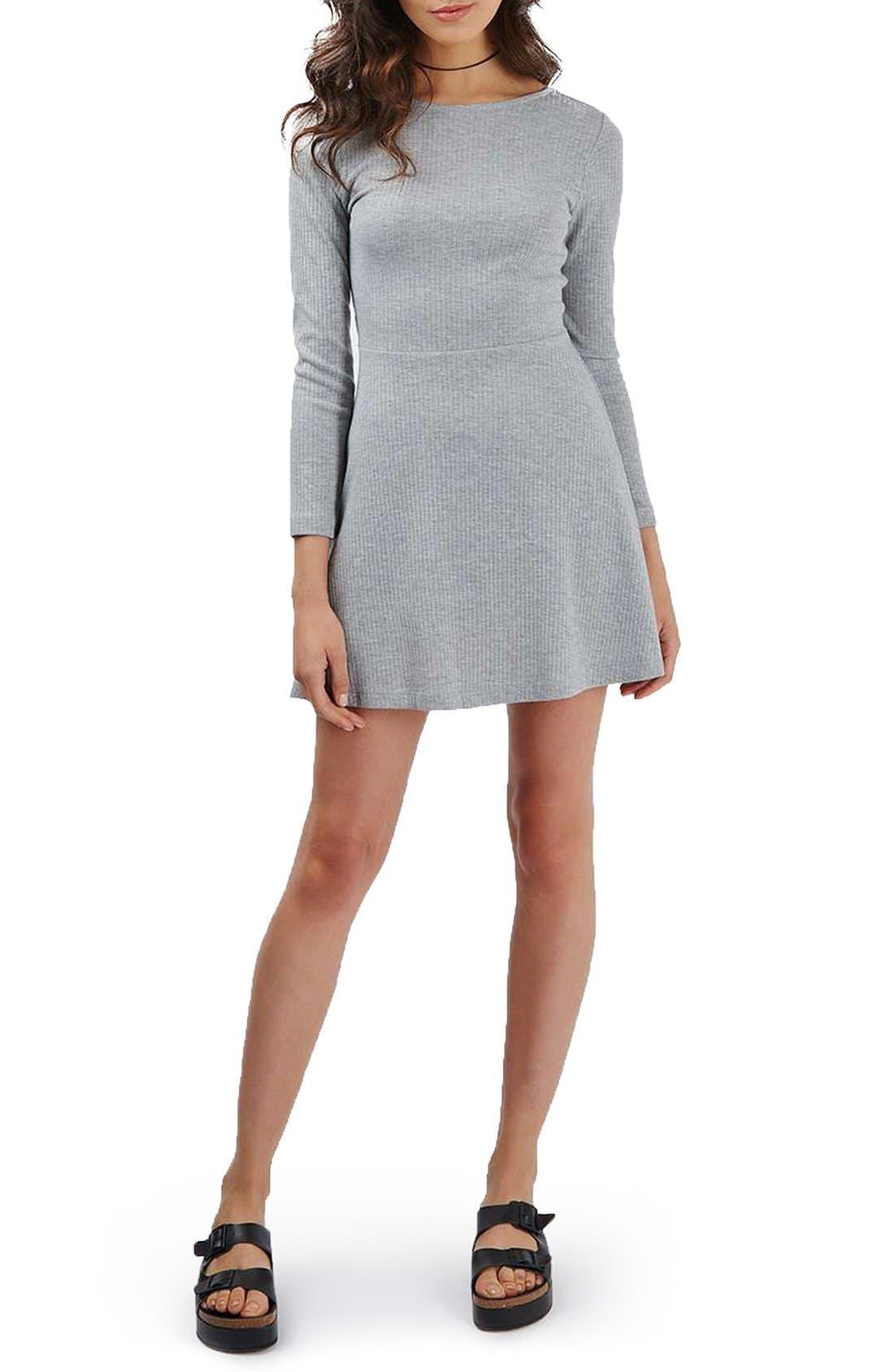 Alternate Image 2  - Topshop Lace-Up Back Skater Dress