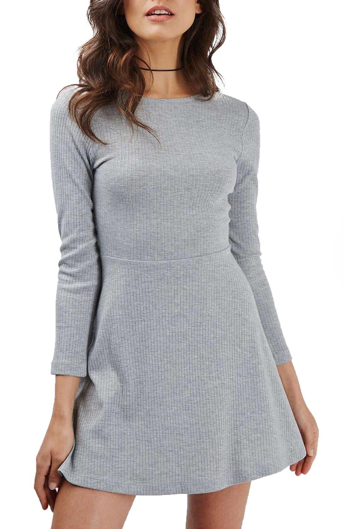 Alternate Image 1 Selected - Topshop Lace-Up Back Skater Dress