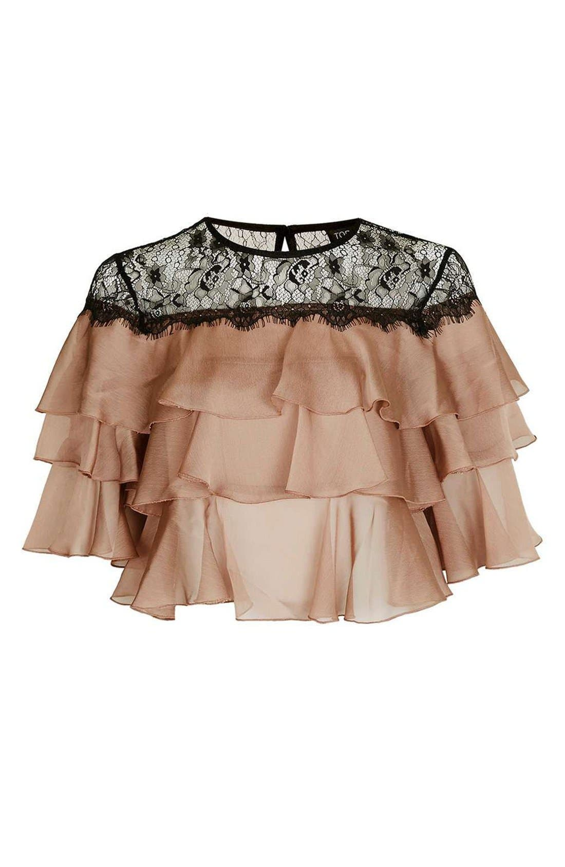 Alternate Image 4  - Topshop Layer Ruffle & Lace Crop Top
