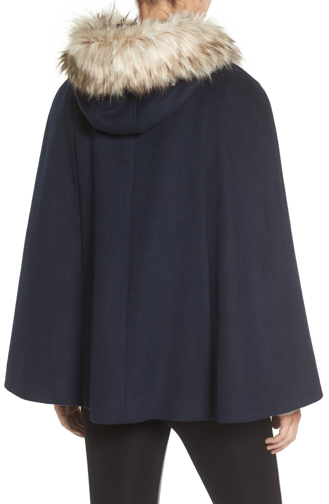 Alternate Image 2  - Eliza J Toggle Cape with Faux Fur