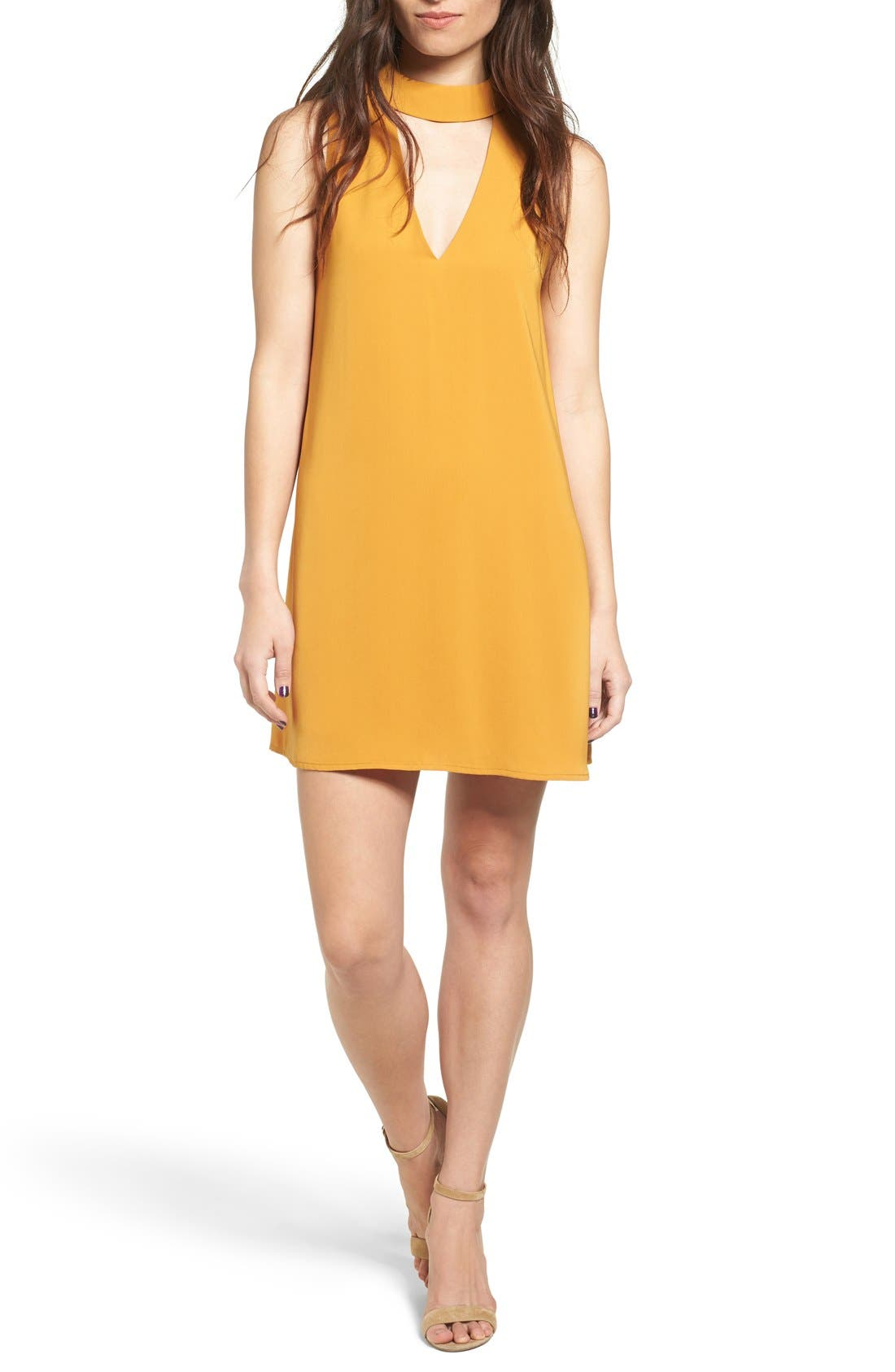 Alternate Image 1 Selected - Cream and Sugar Cutout Front Mock Neck Shift Dress