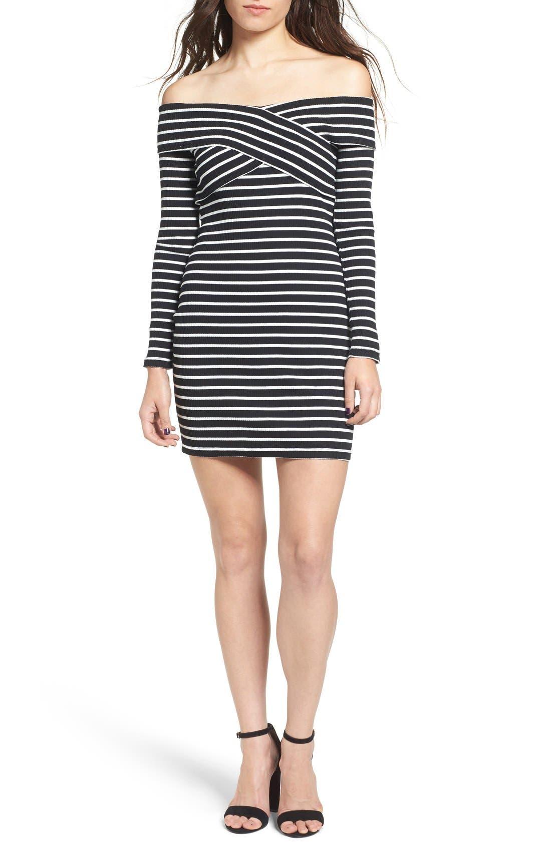 Main Image - Cream and Sugar Stripe Off the Shoulder Body-Con Dress