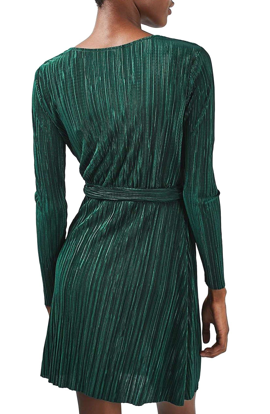 Alternate Image 2  - Topshop Plissé Wrap Minidress (Regular & Petite)