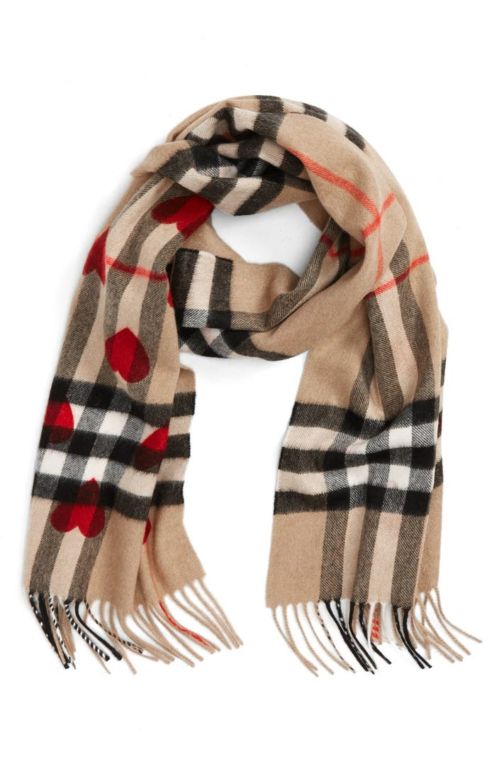 Burberry Heart Amp Giant Check Fringed Cashmere Scarf