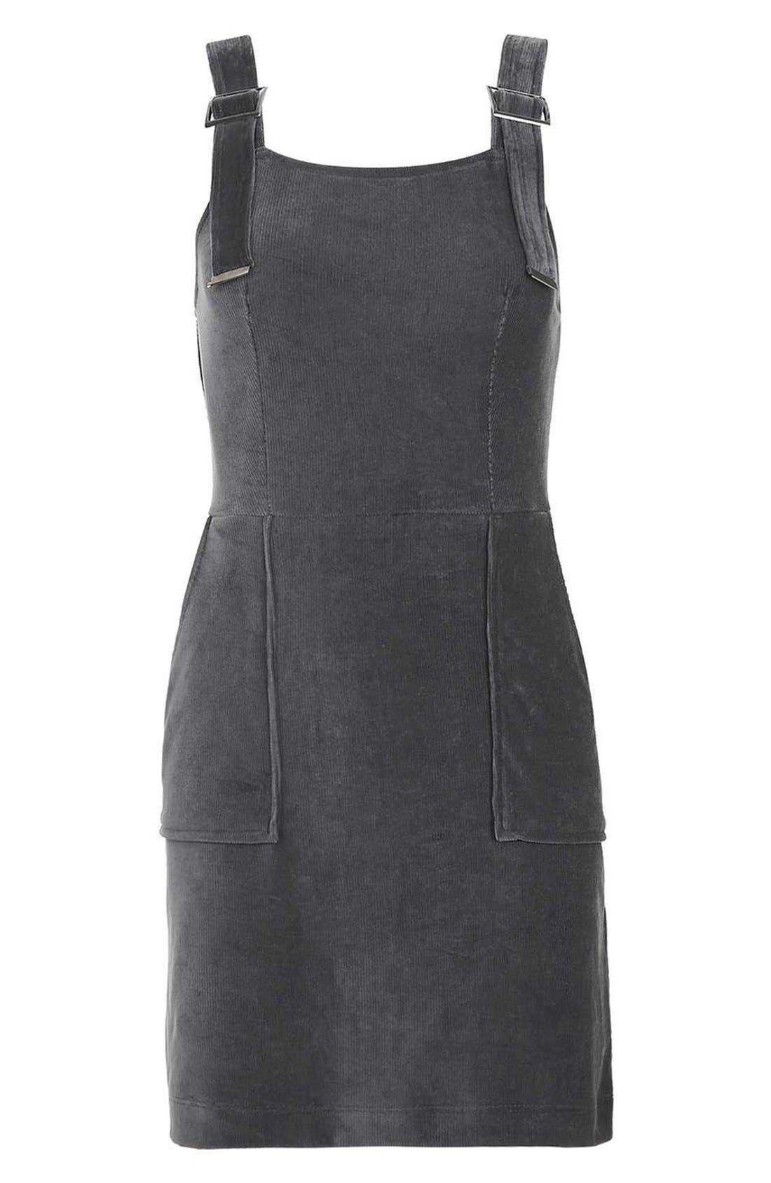 Alternate Image 4  - Topshop Corduroy Velvet Pinafore Dress