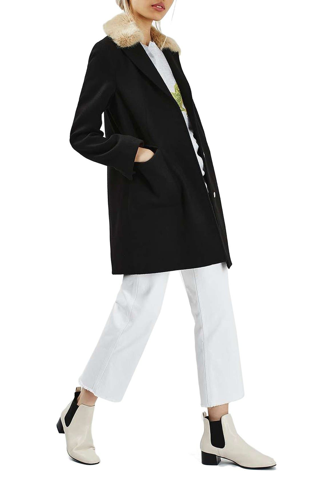 Alternate Image 2  - Topshop Faux Fur Collar Coat