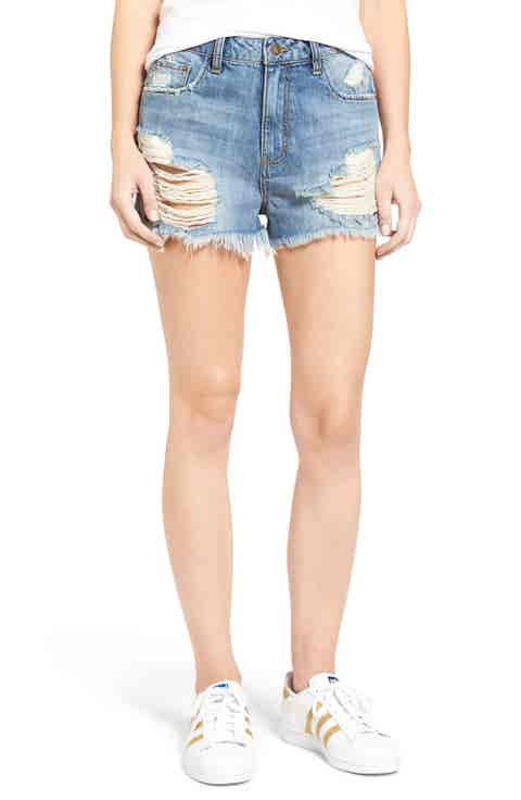Sun   Shadow Ripped High Rise Denim Shorts (Light Nineties Indigo)