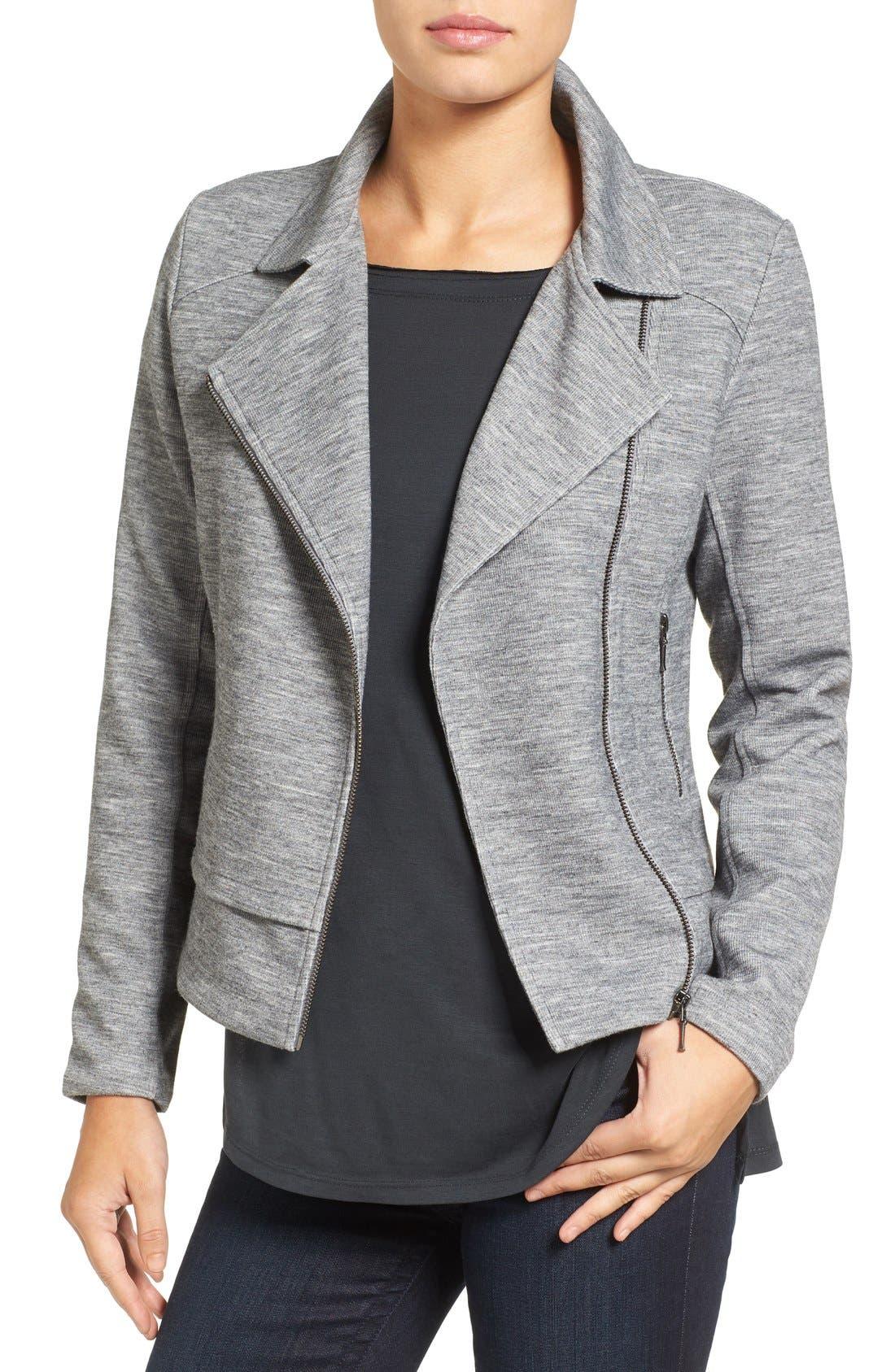 Alternate Image 1 Selected - Halogen® Texture Knit Moto Jacket