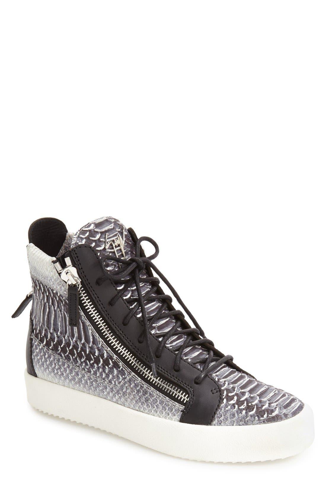 GIUSEPPE ZANOTTI Snake Print High Top Sneaker