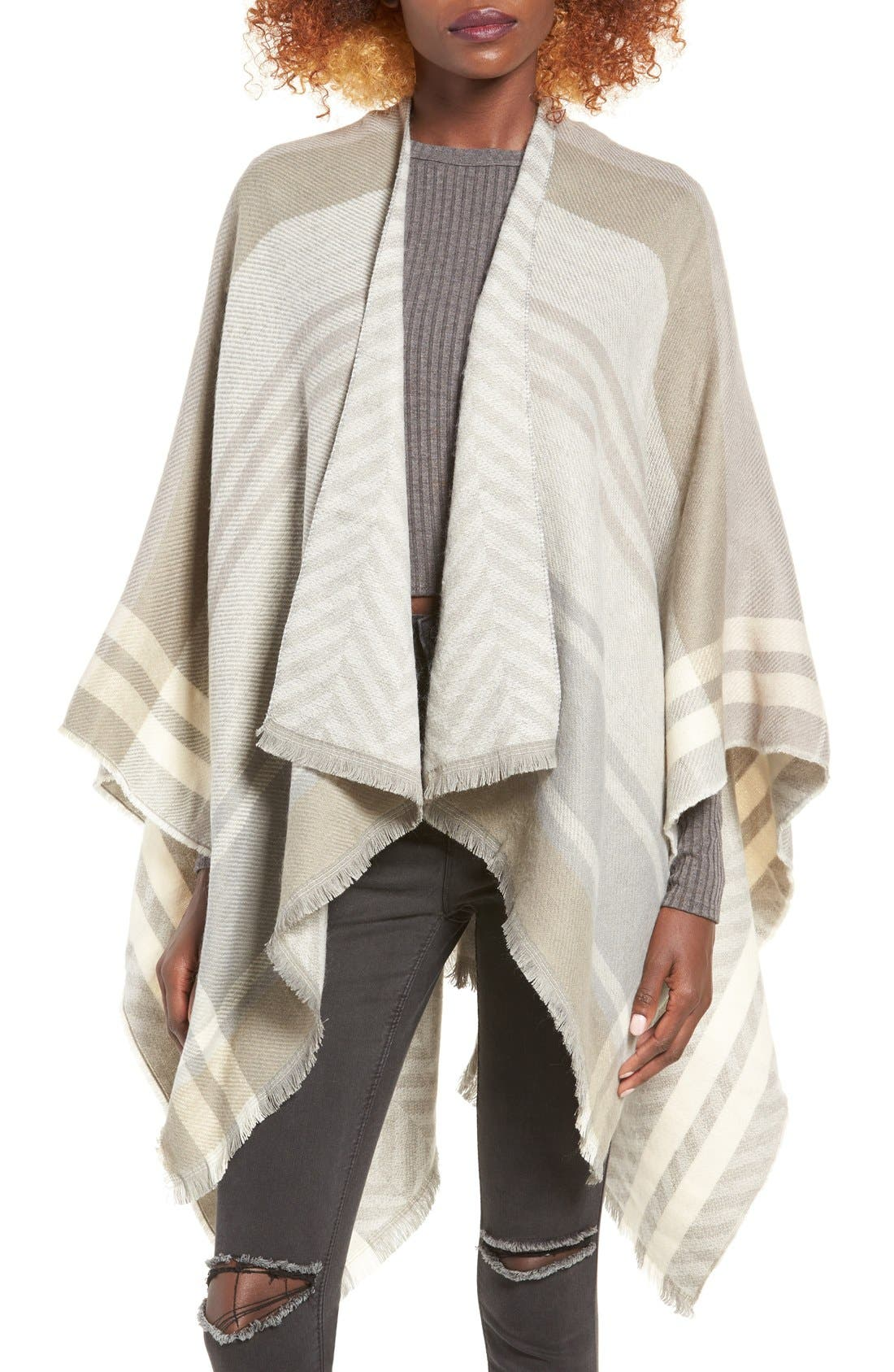 Main Image - La Double 7 Plaid Poncho