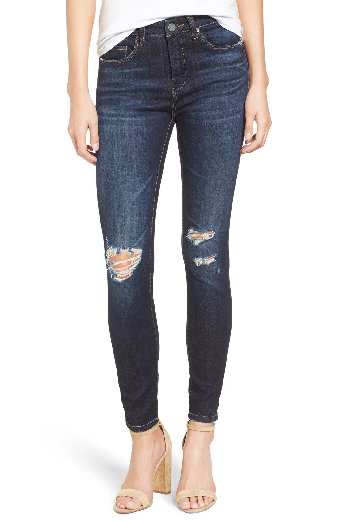 Alternate Image 1 Selected - BLANKNYC Distressed Skinny Jeans (Fully Loaded)