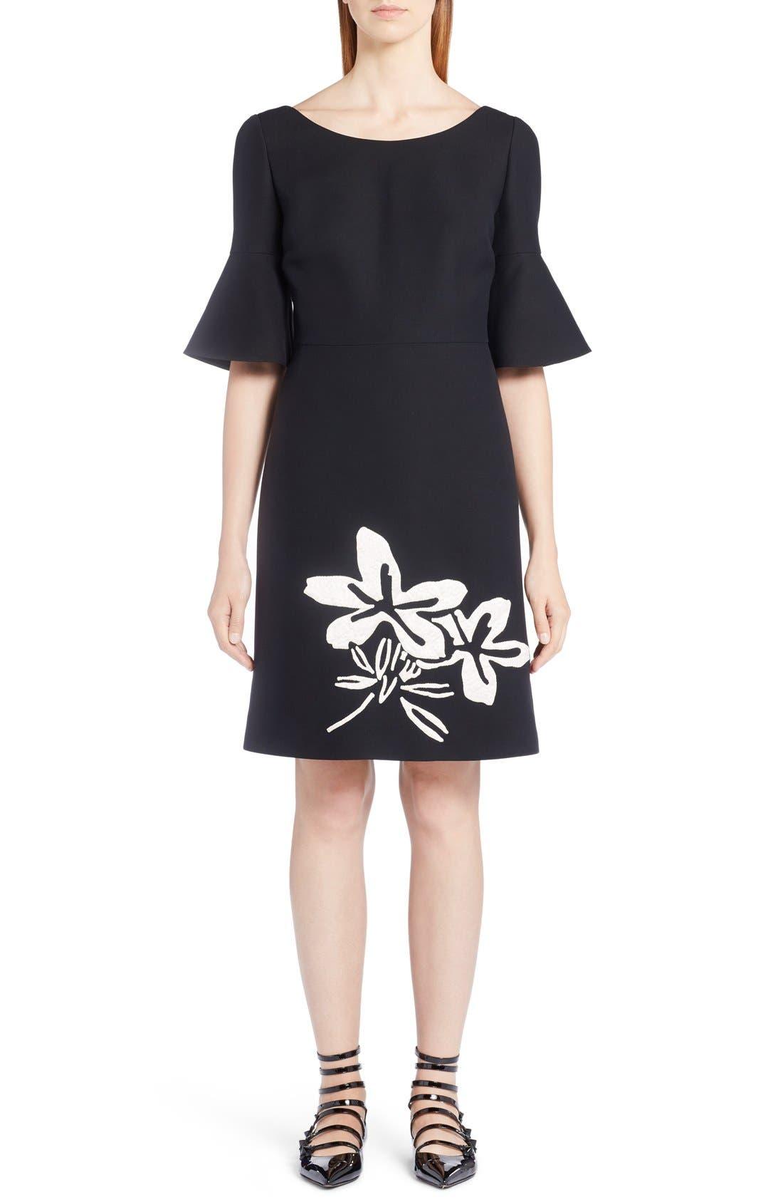 FENDI Floral Appliqué Wool & Silk Gazar Dress