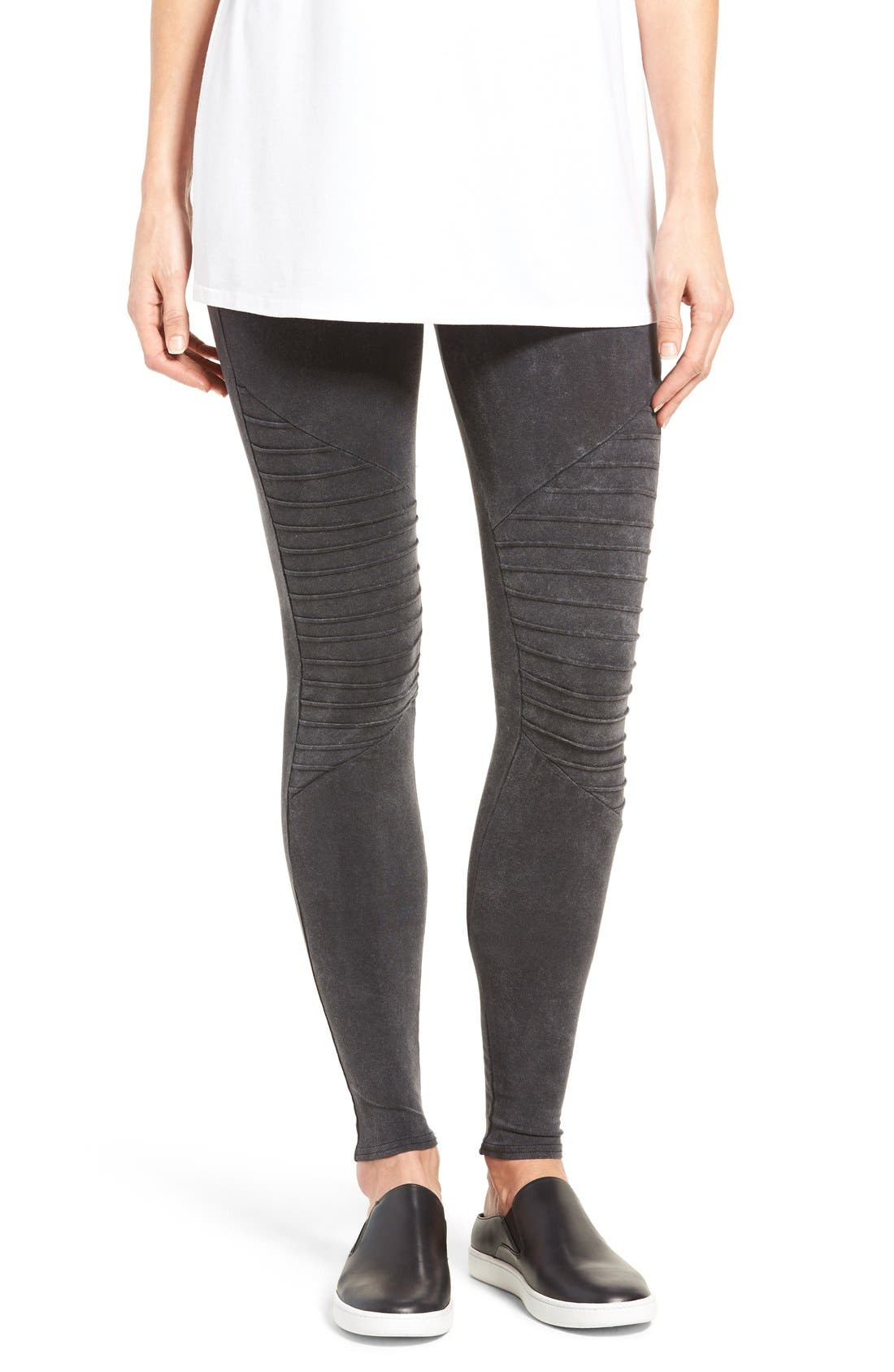 Alternate Image 1 Selected - Nordstrom Moto Washed Cotton Blend Leggings