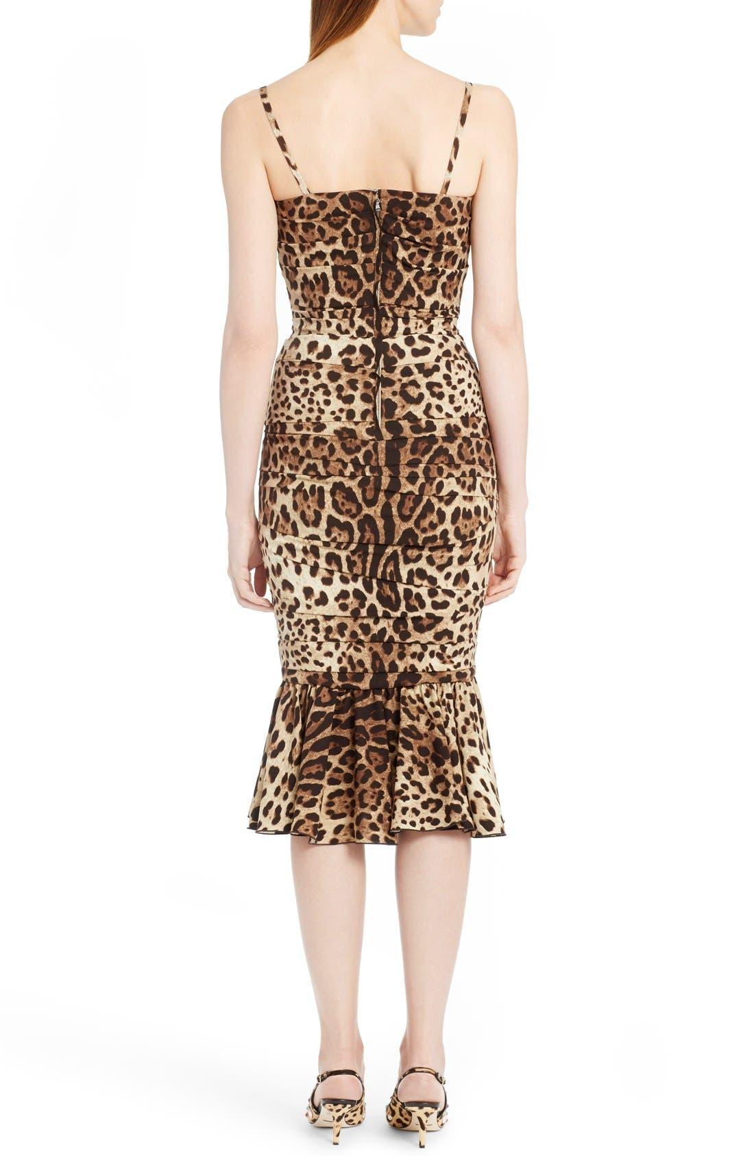 Alternate Image 2  - Dolce&Gabbana Stretch Cady Leopard Print Ruched Dress
