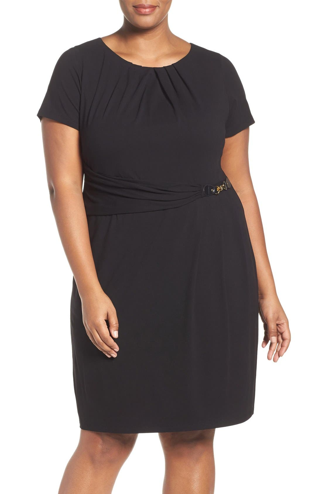 Ellen Tracy Buckle Sheath Dress (Plus Size)
