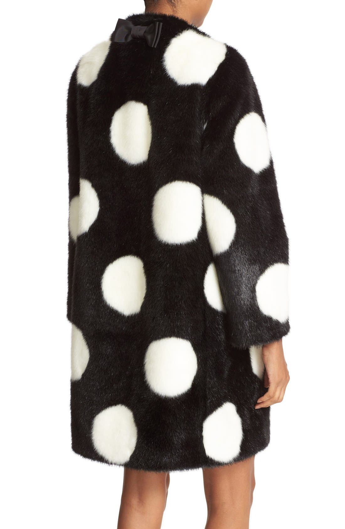 Alternate Image 3  - kate spade new york polka dot faux fur coat
