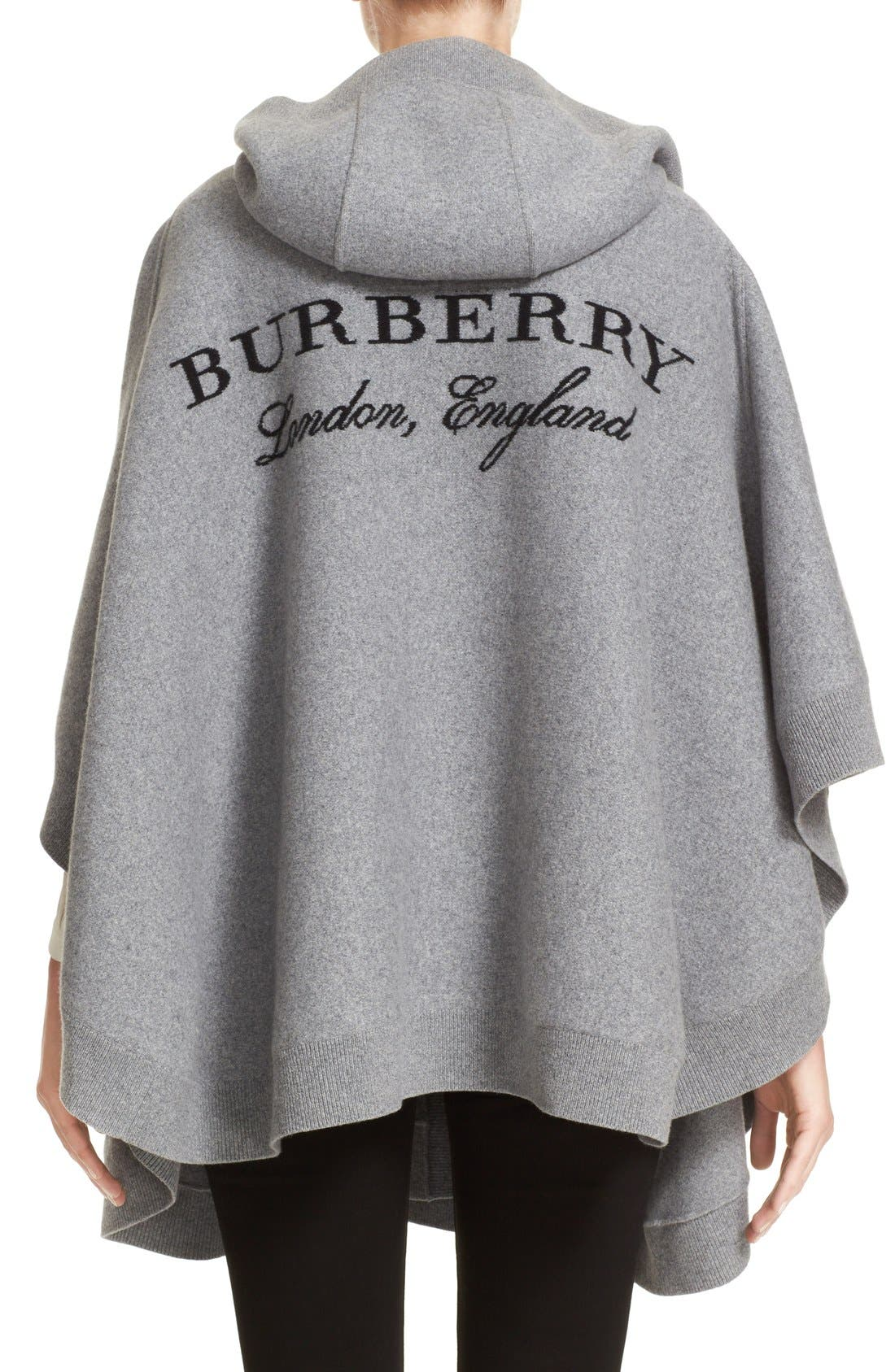 Alternate Image 2  - Burberry Carla Hooded Knit Poncho