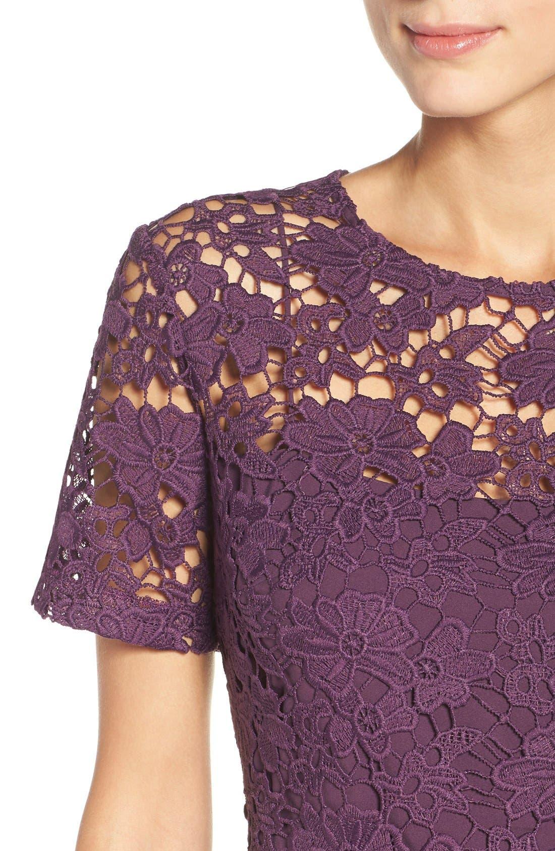 Alternate Image 4  - Donna Morgan Lace Sheath Dress (Regular & Petite)