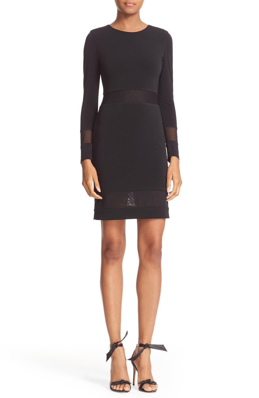 Main Image - Alice + Olivia Madie Mesh Panel Body-Con Dress