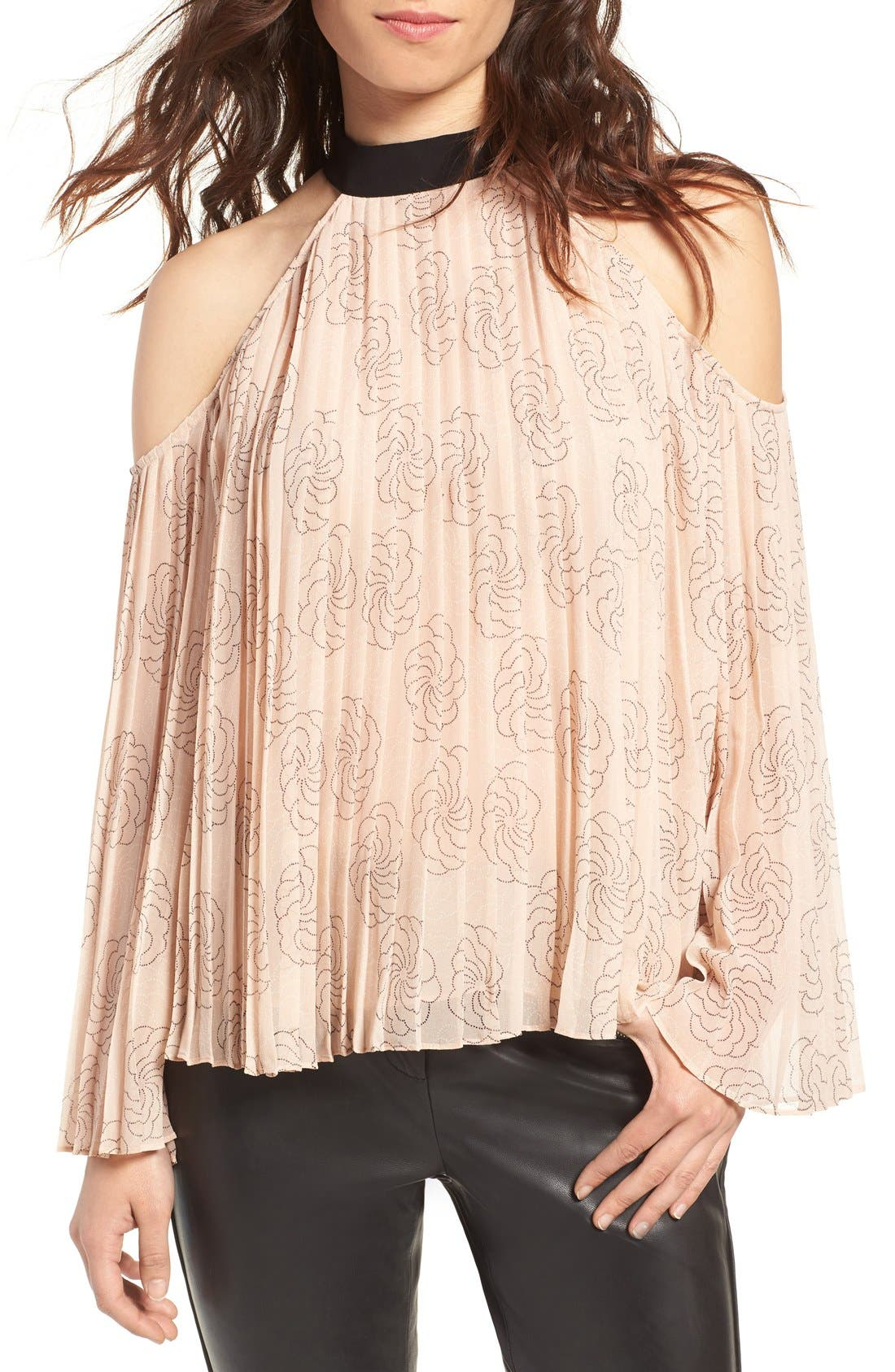 Main Image - Chelsea28 Pleat Cold Shoulder Top