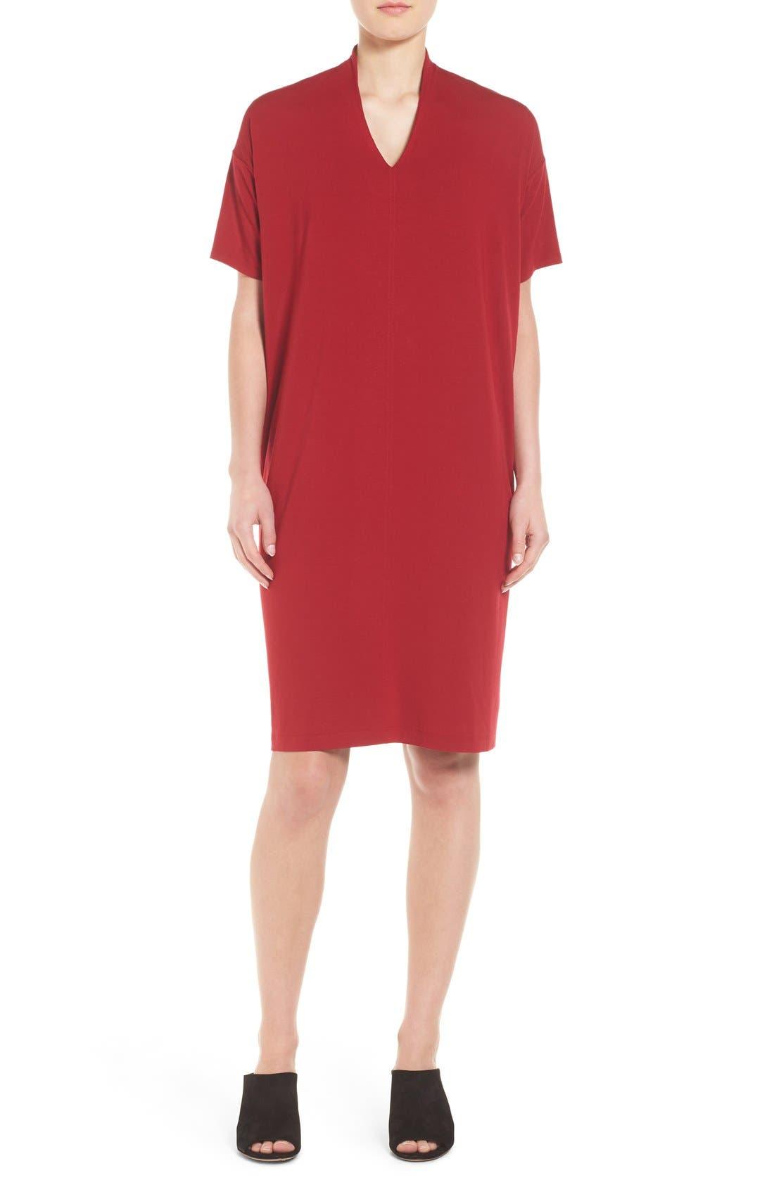 Main Image - Eileen Fisher V-Neck Stretch Jersey Shift Dress