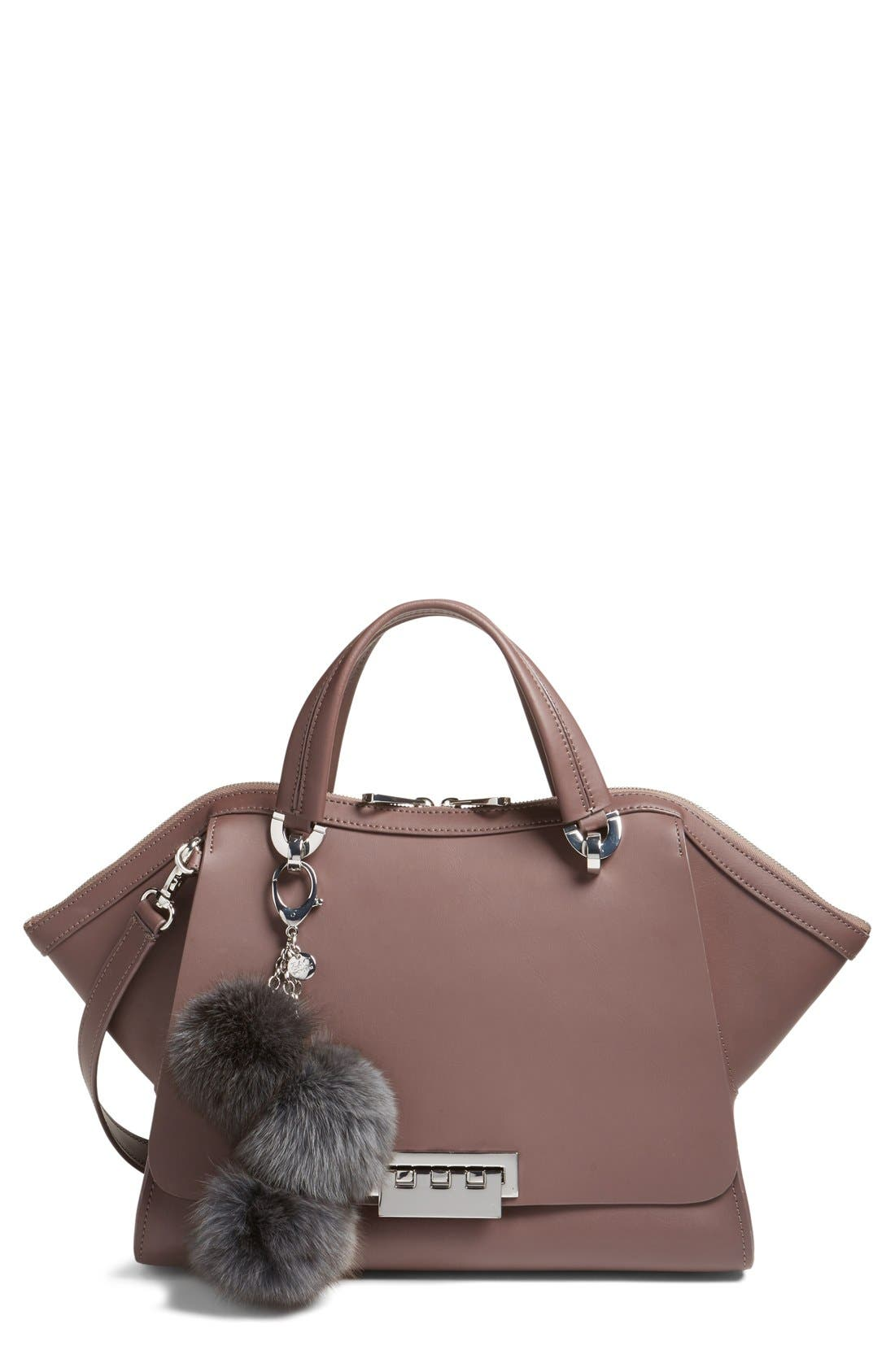 Main Image - ZAC Zac Posen Jumbo Eartha Iconic Leather Satchel with Genuine Fox Fur Bag Charm